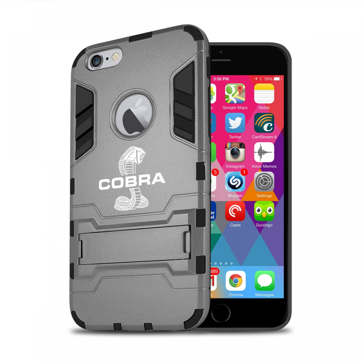 Ford Mustang Cobra iPhone 6 6s Shockproof TPU ABS Hybrid Dark Gray Phone Case