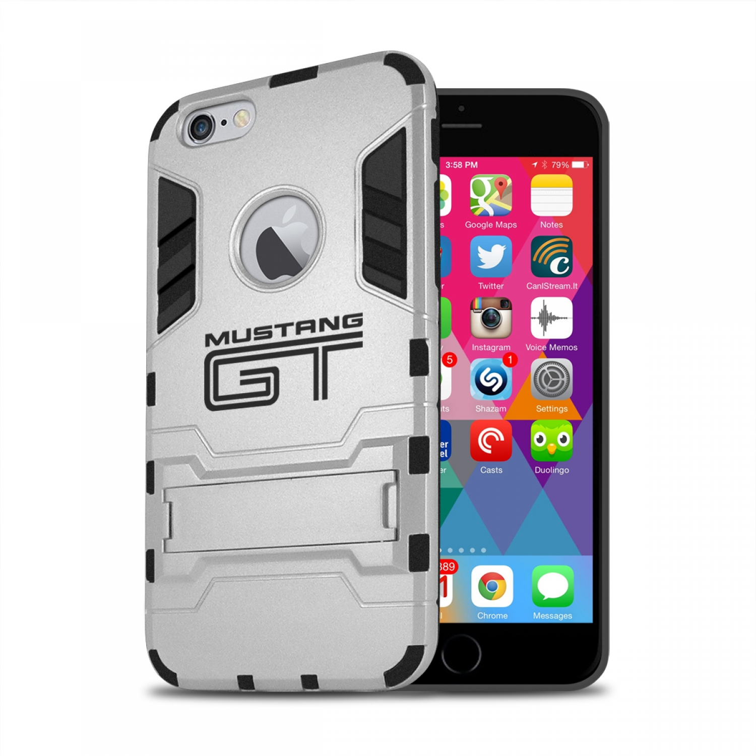 Ford Mustang GT iPhone 6 6s Shockproof TPU ABS Hybrid Silver Phone Case