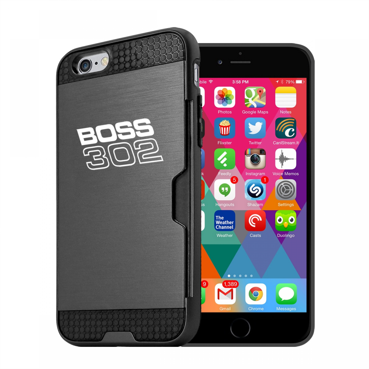 Ford Mustang Boss 302 iPhone 6 6s Ultra Thin TPU Black Phone Case with Credit Card Slot Wallet