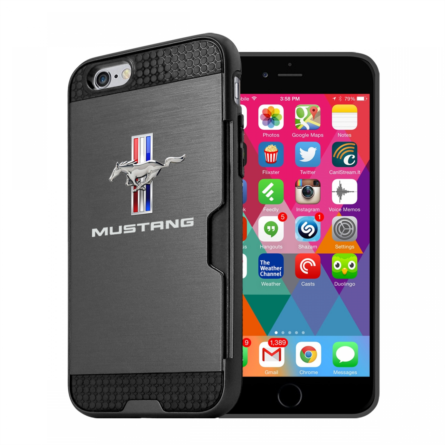 Ford Mustang Tri-Bar iPhone 6 6s Ultra Thin TPU Black Phone Case with Credit Card Slot Wallet