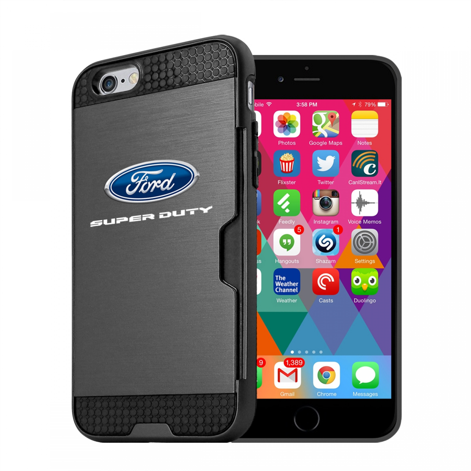 Ford Super Duty iPhone 6 6s Ultra Thin TPU Black Phone Case with Credit Card Slot Wallet