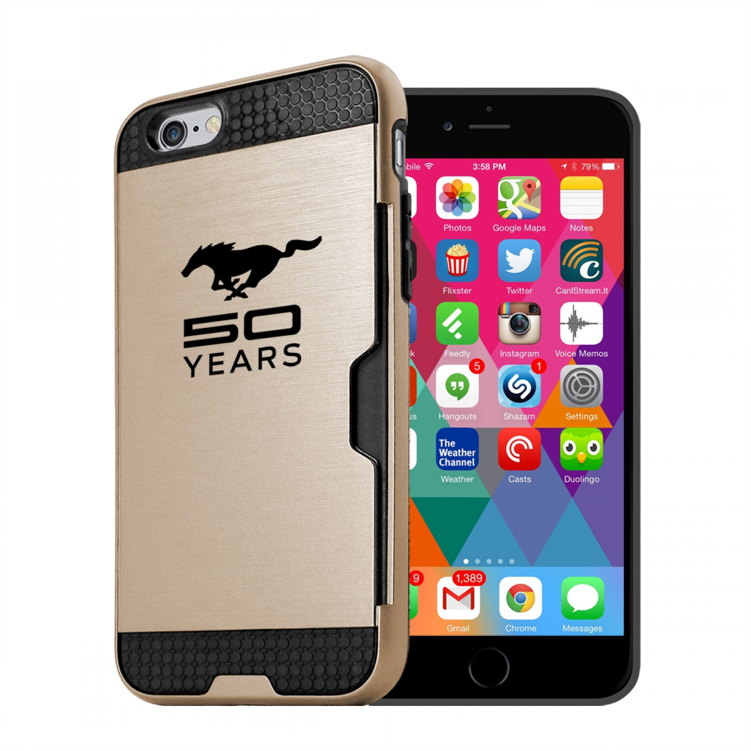Ford Mustang 50 Years iPhone 6 6s Ultra Thin TPU Golden Phone Case with Credit Card Slot Wallet
