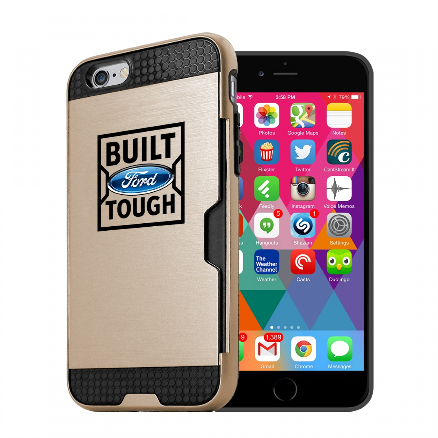 Ford Built Ford Tough iPhone 6 6s Ultra Thin TPU Golden Phone Case with Credit Card Slot Wallet