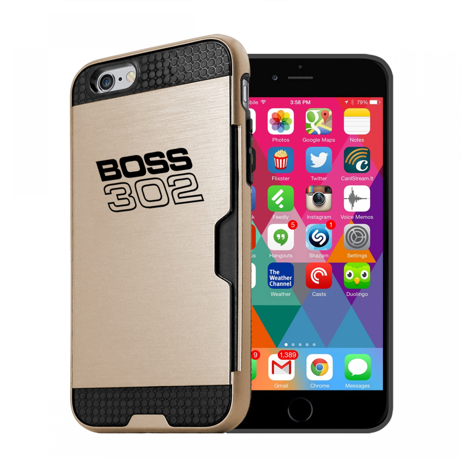 Ford Mustang Boss 302 iPhone 6 6s Ultra Thin TPU Golden Phone Case with Credit Card Slot Wallet