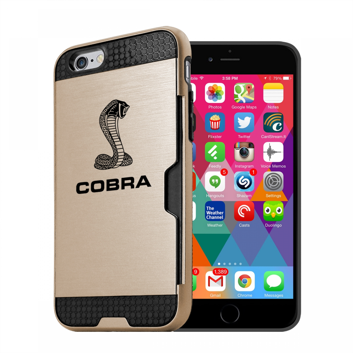 Ford Mustang Cobra iPhone 6 6s Ultra Thin TPU Golden Phone Case with Credit Card Slot Wallet