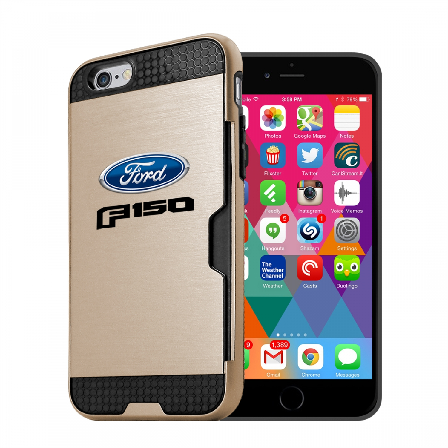 Ford F-150 2015 up iPhone 6 6s Ultra Thin TPU Golden Phone Case with Credit Card Slot Wallet