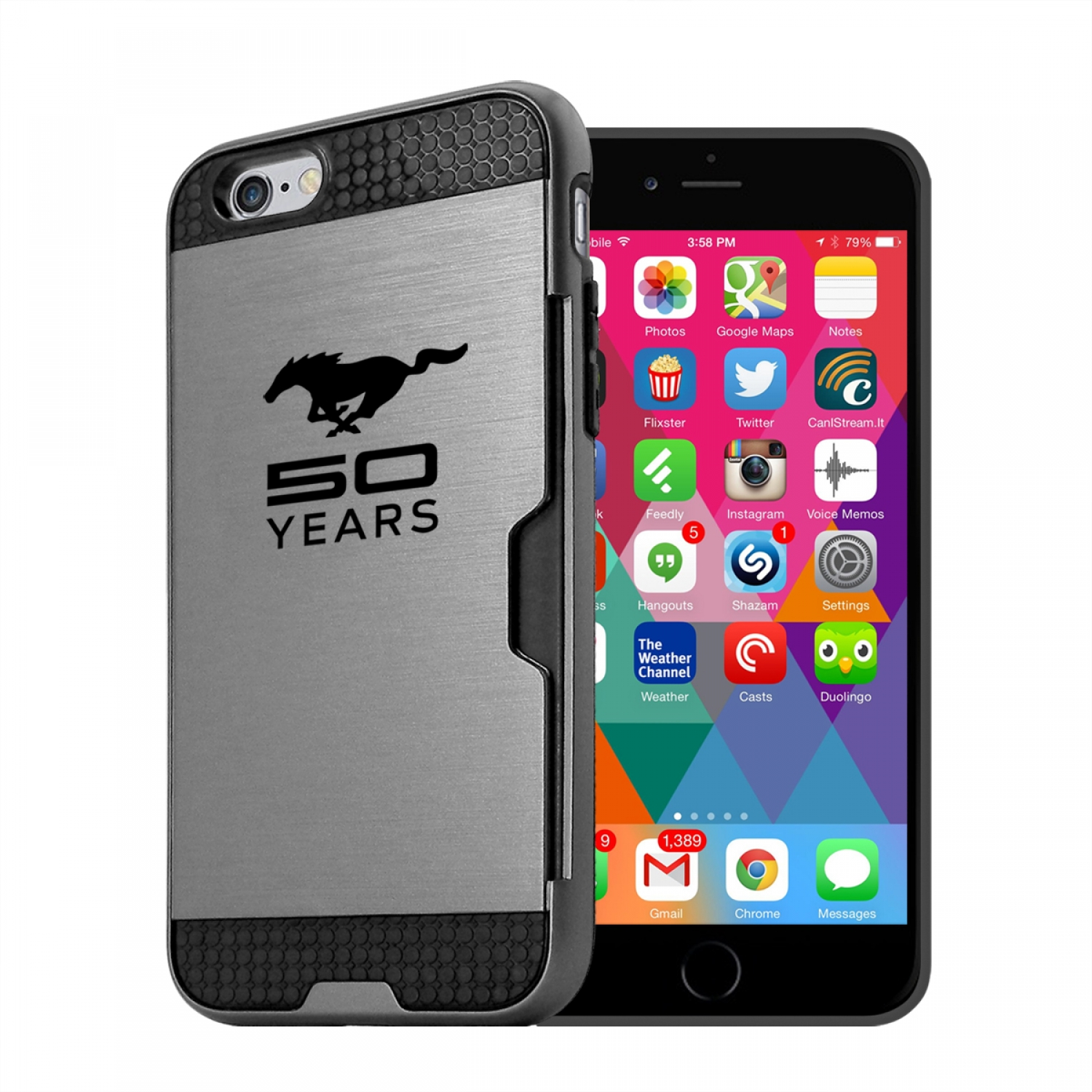 Ford Mustang 50 Years iPhone 6 6s Ultra Thin TPU Silver Phone Case with Credit Card Slot Wallet