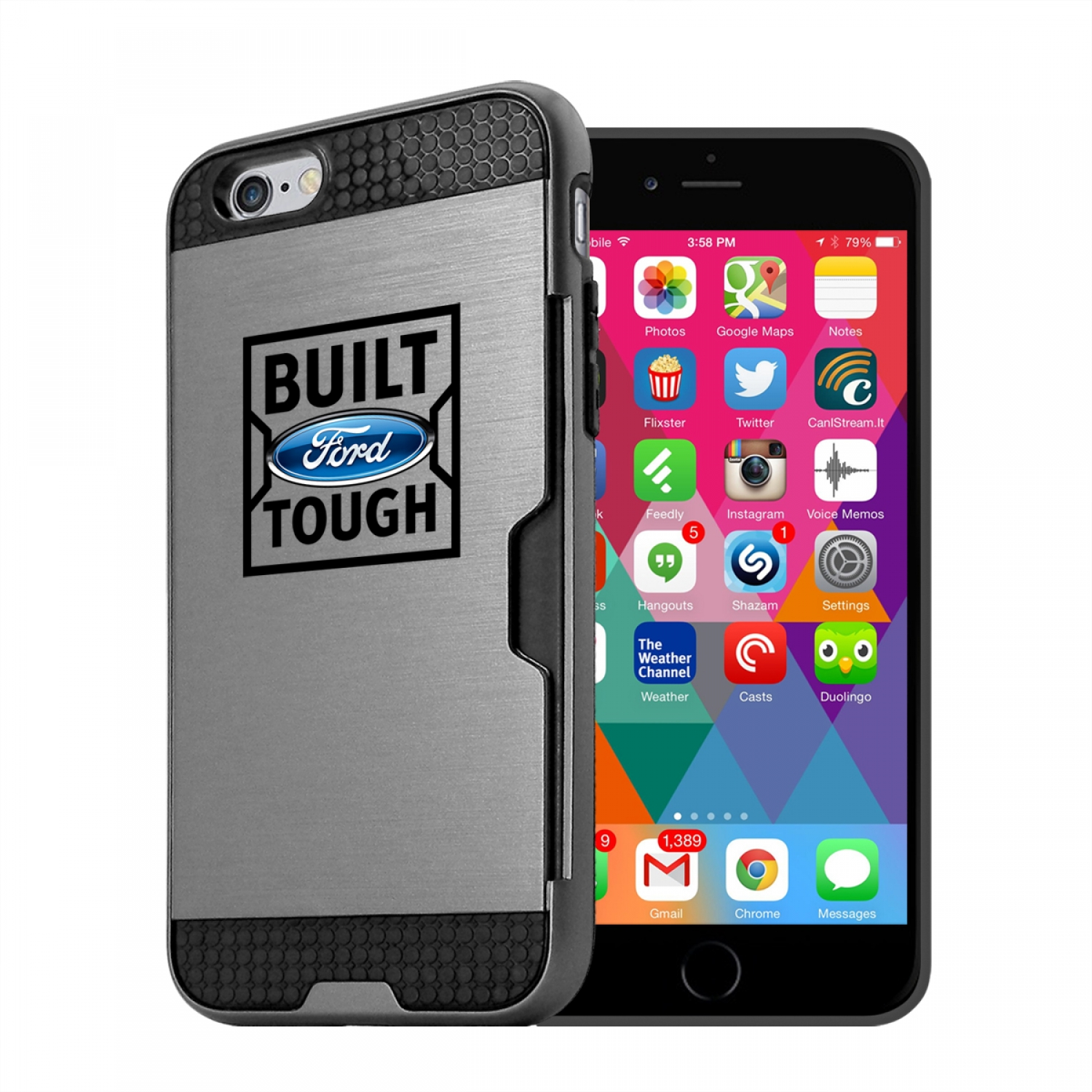Ford Built Ford Tough iPhone 6 6s Ultra Thin TPU Silver Phone Case with Credit Card Slot Wallet