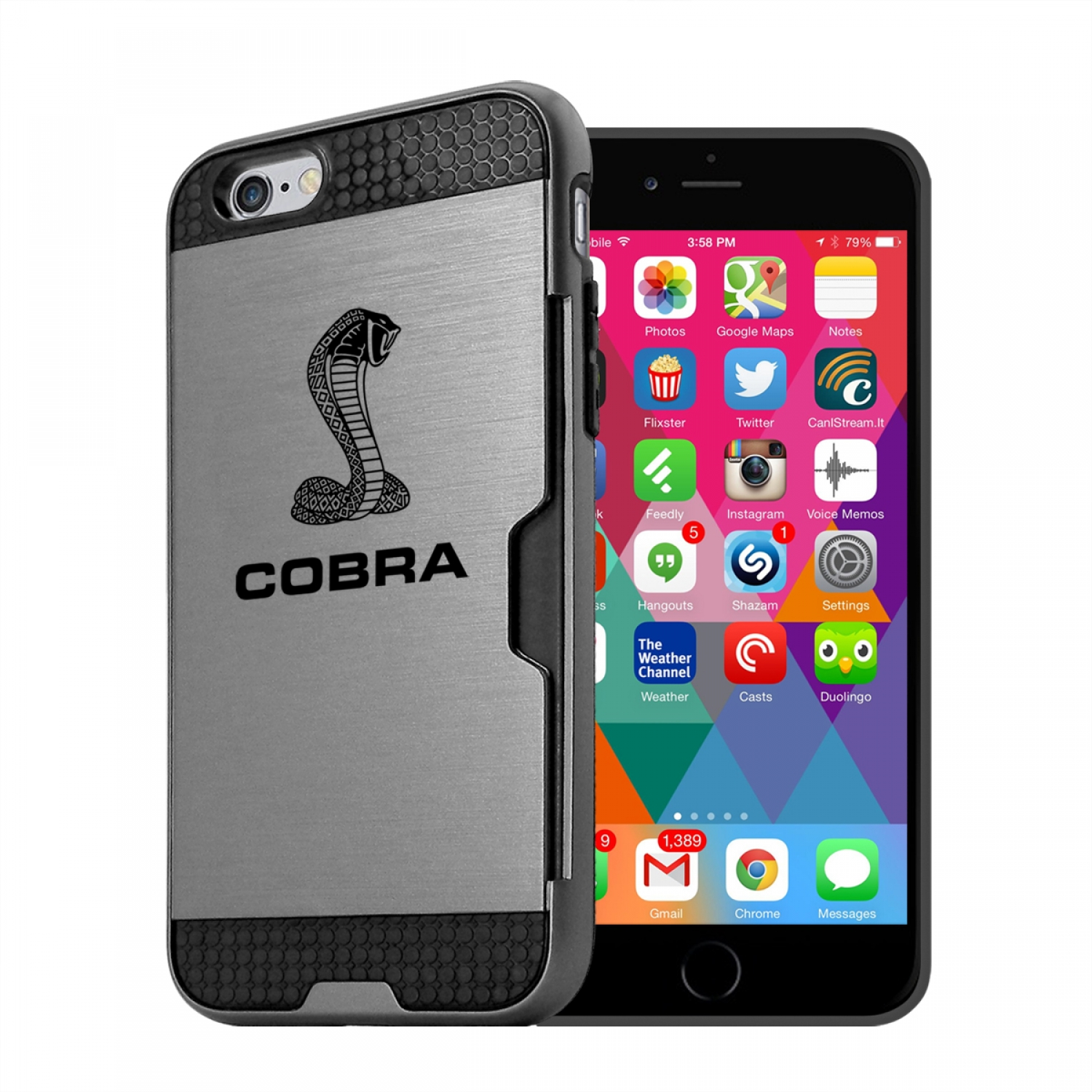 Ford Mustang Cobra iPhone 6 6s Ultra Thin TPU Silver Phone Case with Credit Card Slot Wallet