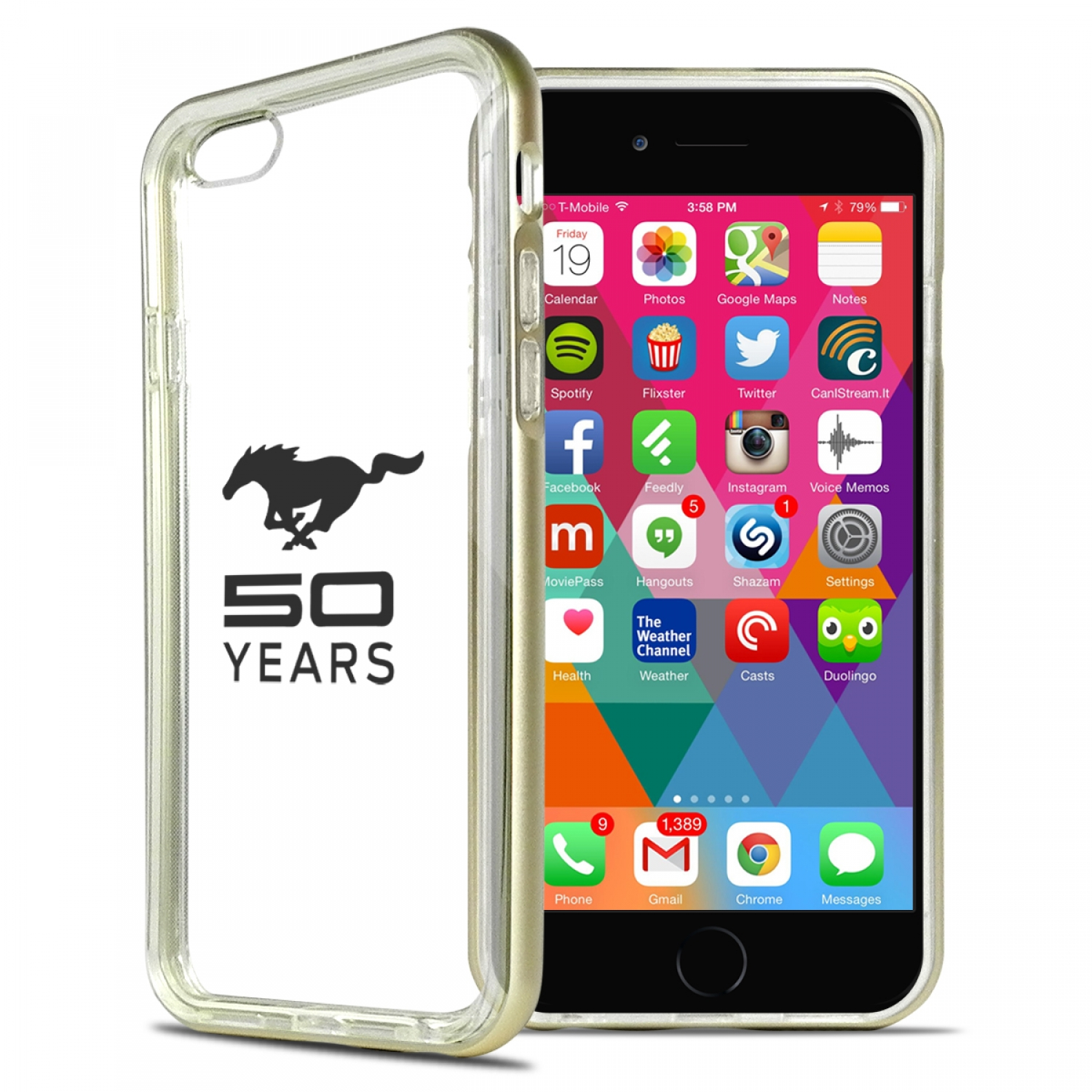 Ford Mustang 50 Years iPhone 6 6s Shockproof Clear TPU Case with Gold Metal Bumper Hybrid Phone Case