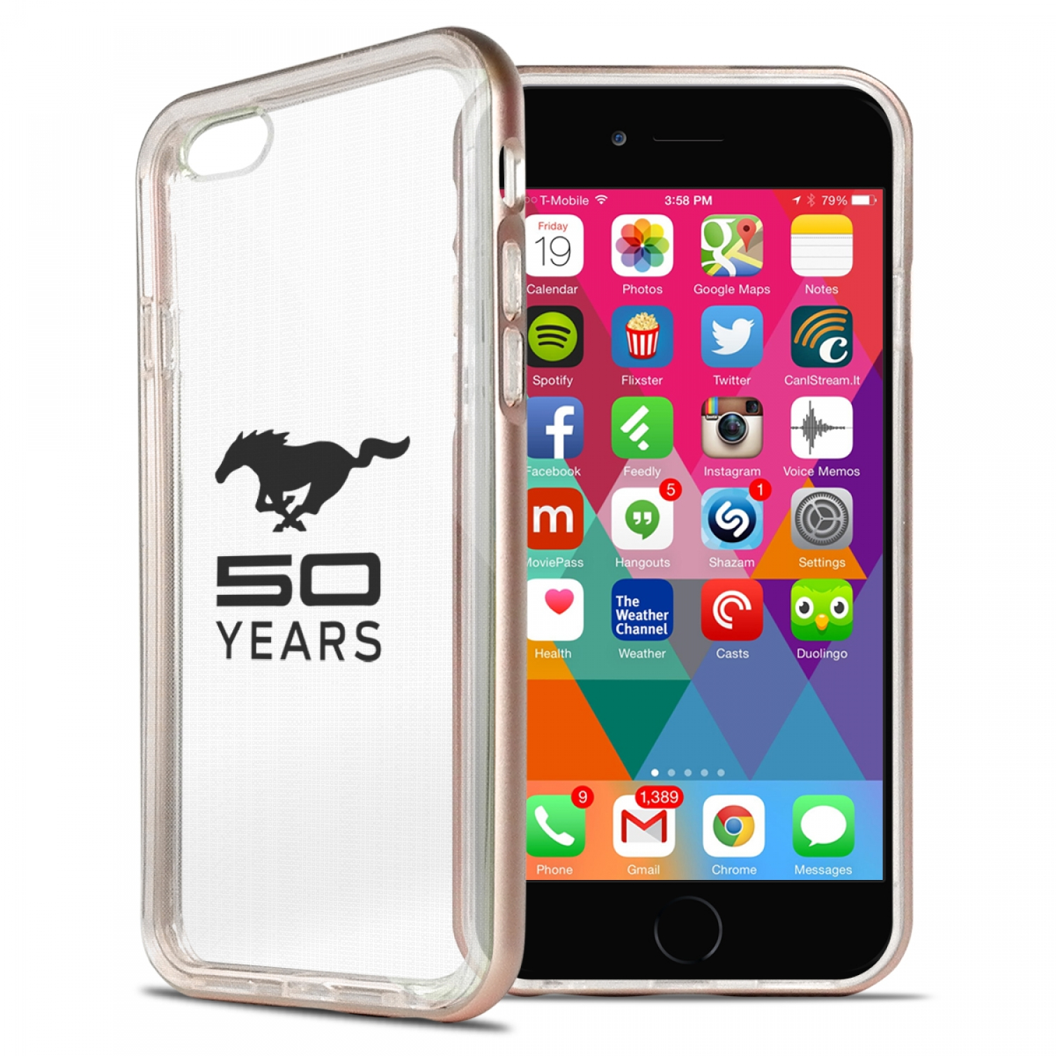 Ford Mustang 50 Years iPhone 6 6s Shockproof Clear TPU Case with Rose Pink Metal Bumper Hybrid Phone Case