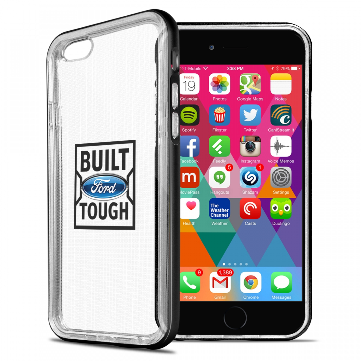 Ford Built Ford Tough iPhone 6 6s Shockproof Clear TPU Case with Metal Bumper Hybrid Phone Case