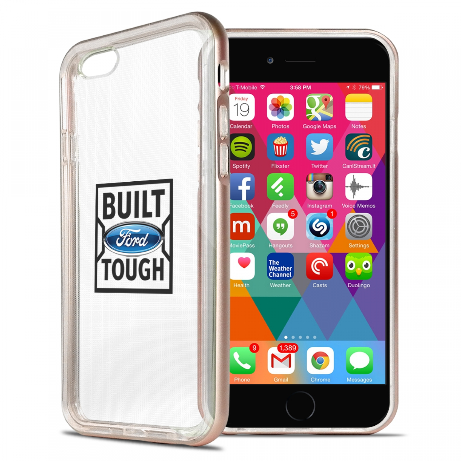 Ford Built Ford Tough iPhone 6 6s Shockproof Clear TPU Case with Rose Pink Metal Bumper Hybrid Phone Case