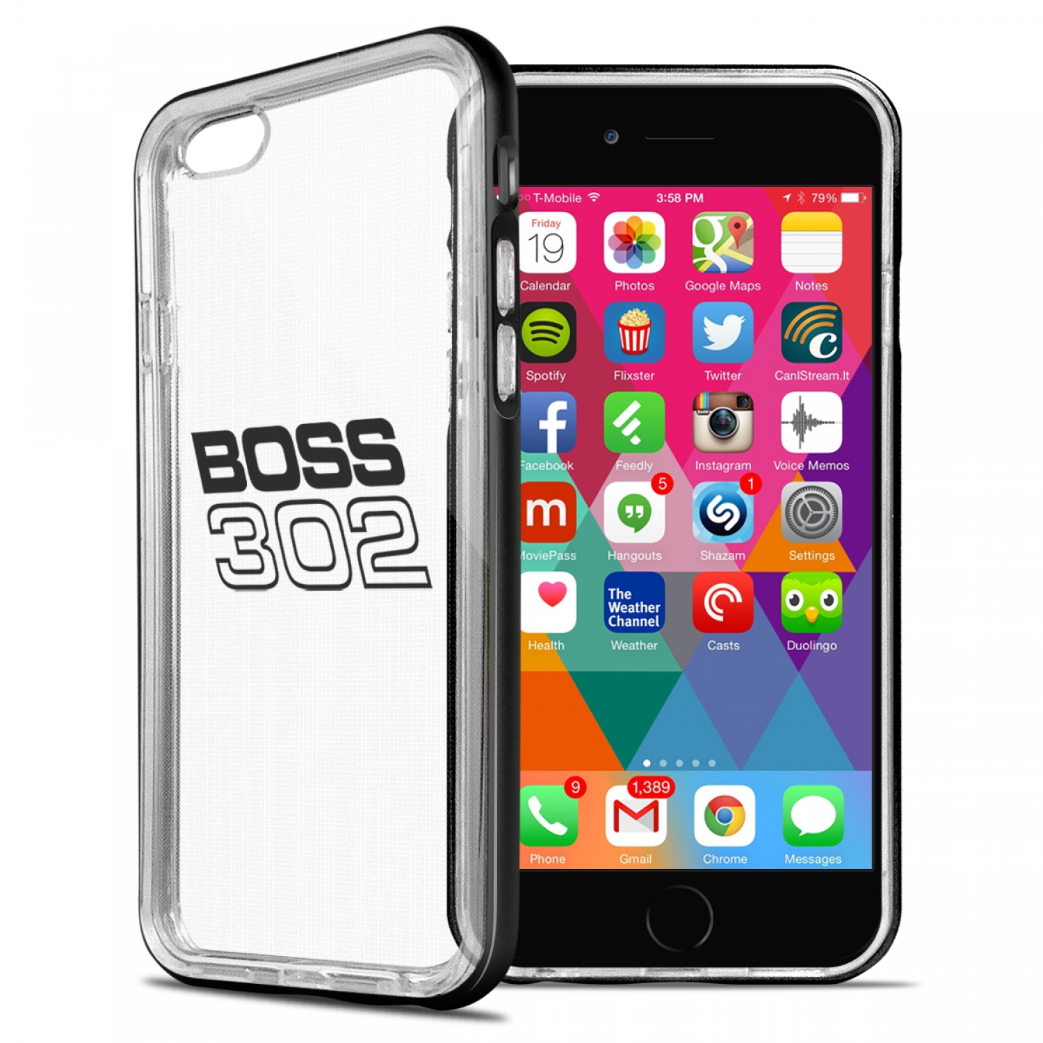 Ford Mustang Boss 302 iPhone 6 6s Shockproof Clear TPU Case with Metal Bumper Hybrid Phone Case