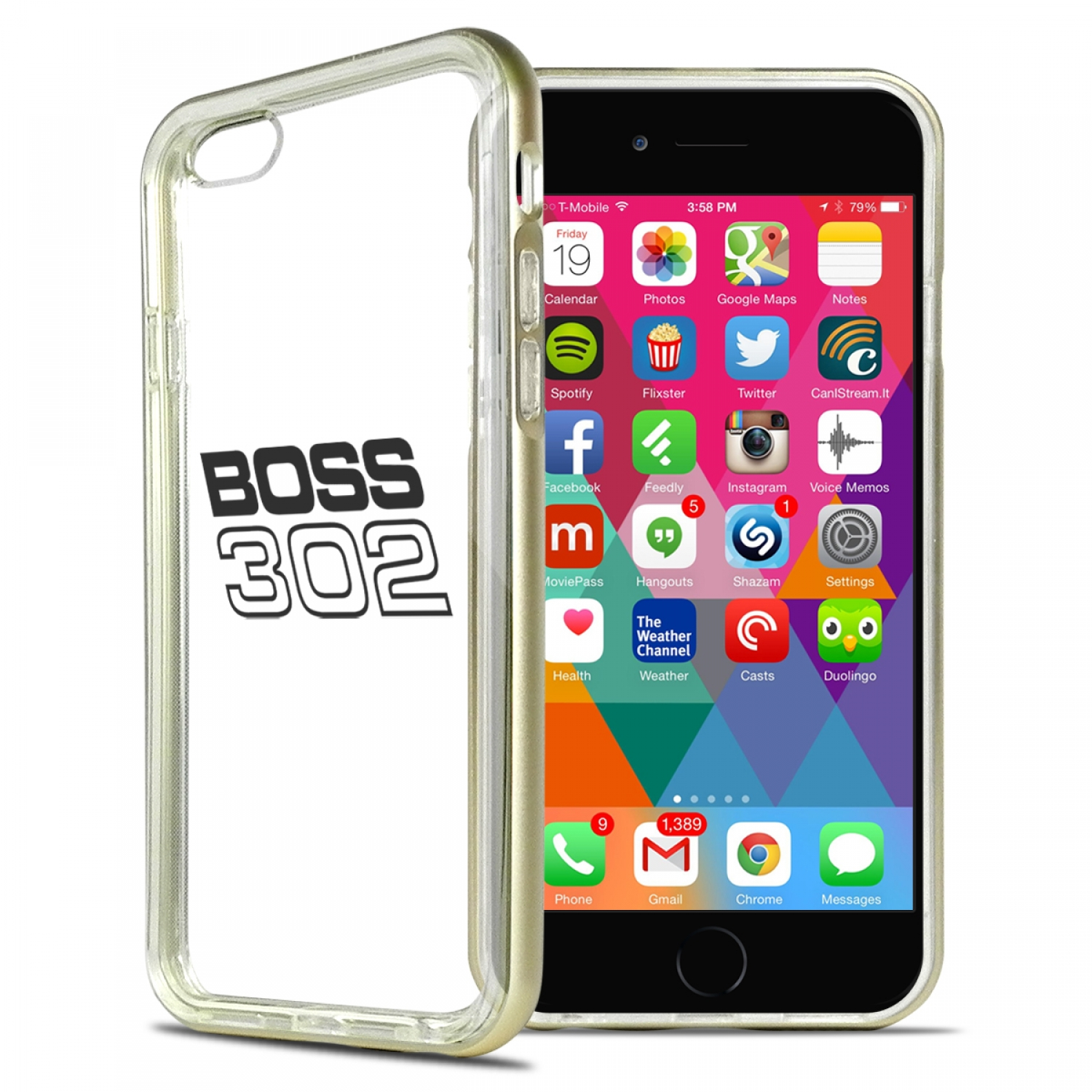 Ford Mustang Boss 302 iPhone 6 6s Shockproof Clear TPU Case with Gold Metal Bumper Hybrid Phone Case