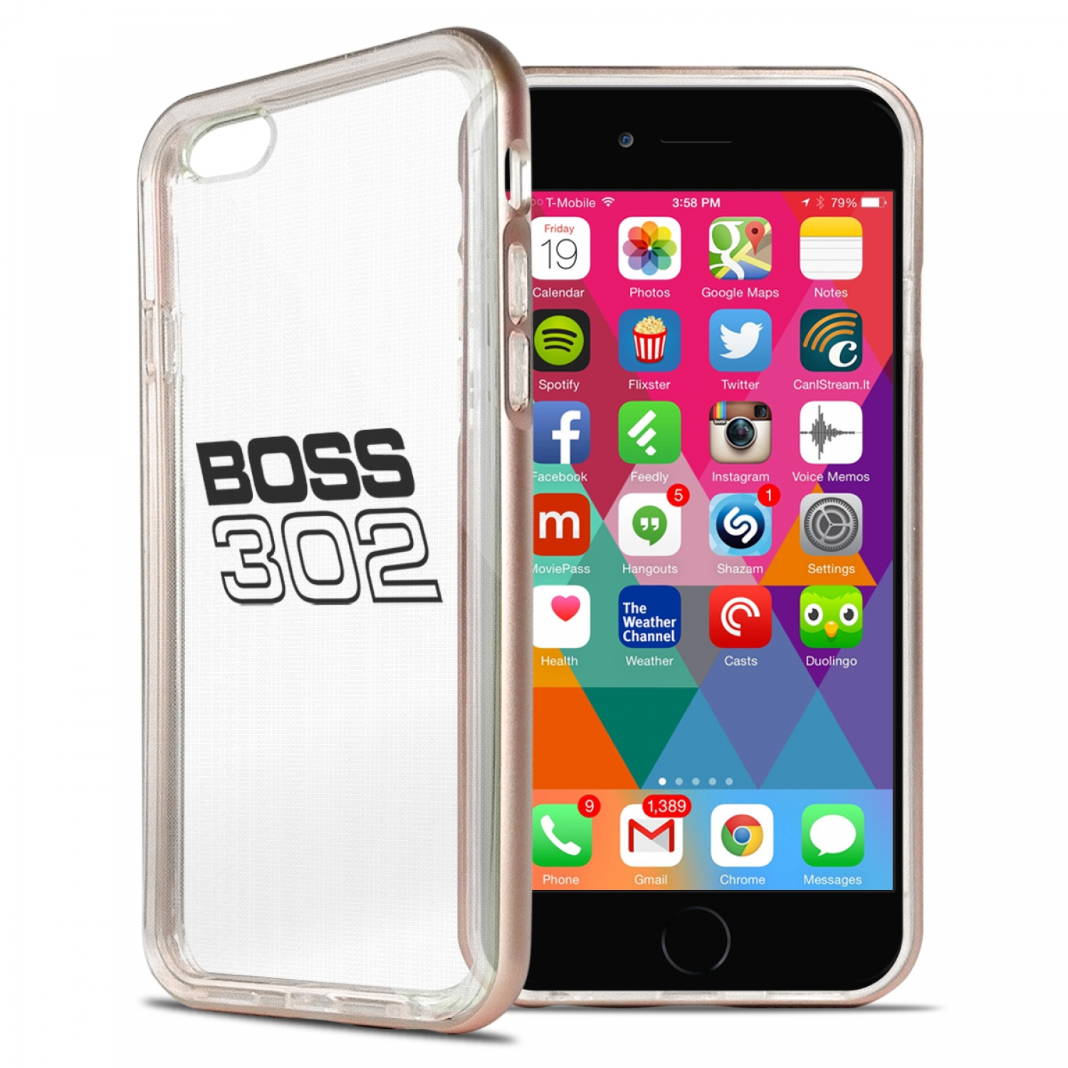 Ford Mustang Boss 302 iPhone 6 6s Shockproof Clear TPU Case with Rose Pink Metal Bumper Hybrid Phone Case