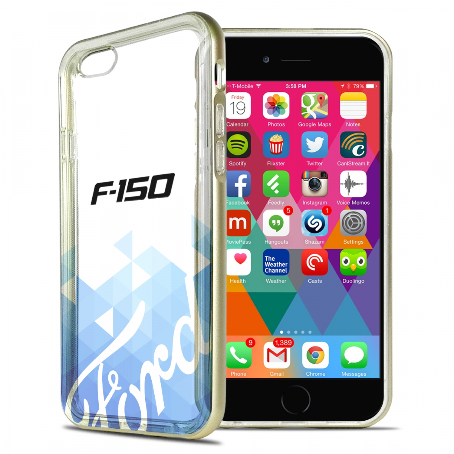 Ford F-150 iPhone 6 6s Shockproof Clear TPU Case with Gold Metal Bumper Hybrid Phone Case