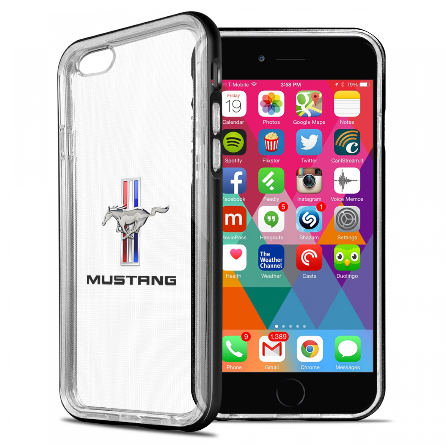 Ford Mustang Tri-Bar iPhone 6 6s Shockproof Clear TPU Case with Metal Bumper Hybrid Phone Case