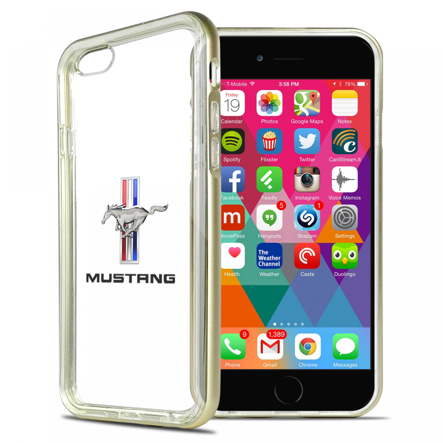 Ford Mustang Tri-Bar iPhone 6 6s Shockproof Clear TPU Case with Gold Metal Bumper Hybrid Phone Case