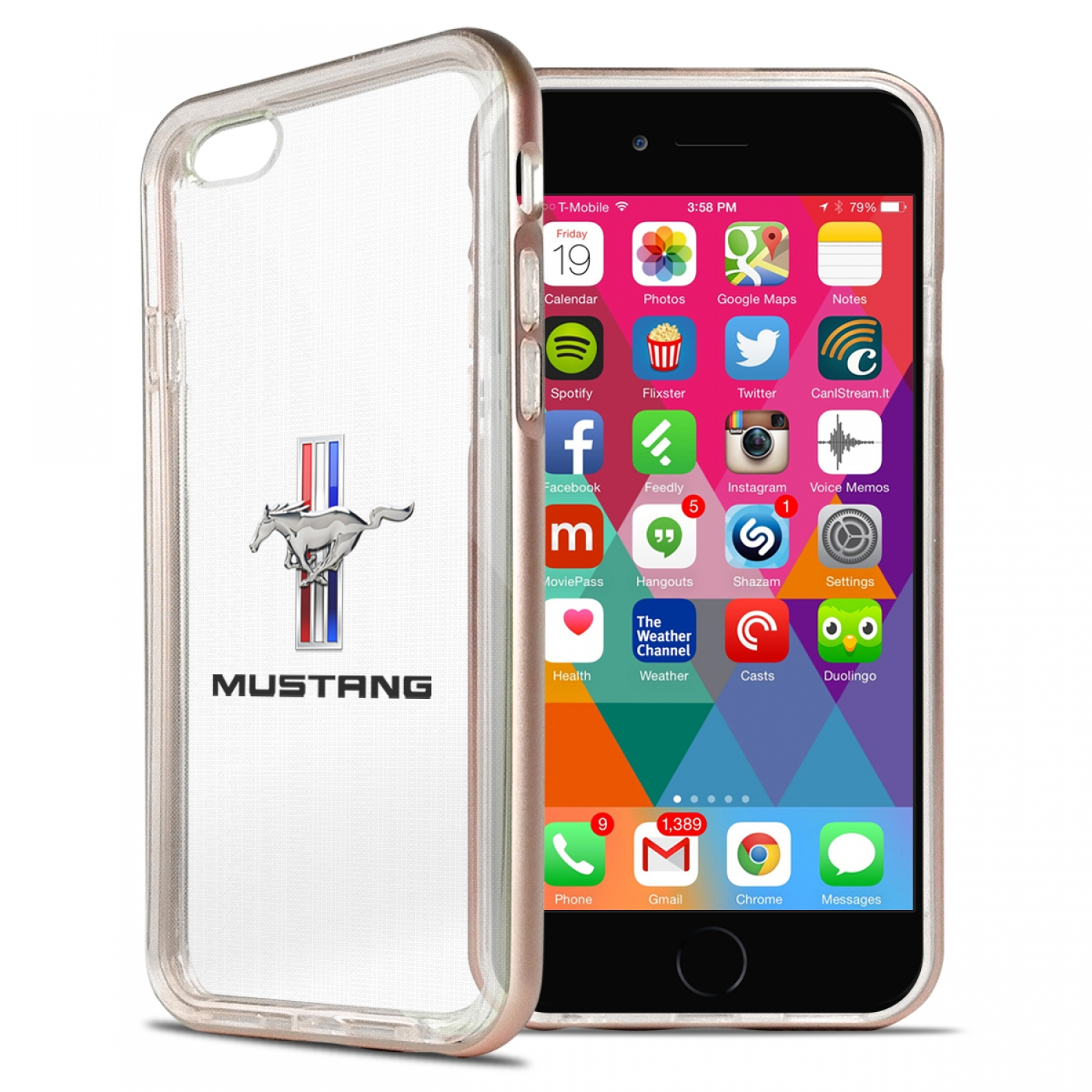 Ford Mustang Tri-Bar iPhone 6 6s Shockproof Clear TPU Case with Rose Pink Metal Bumper Hybrid Phone Case