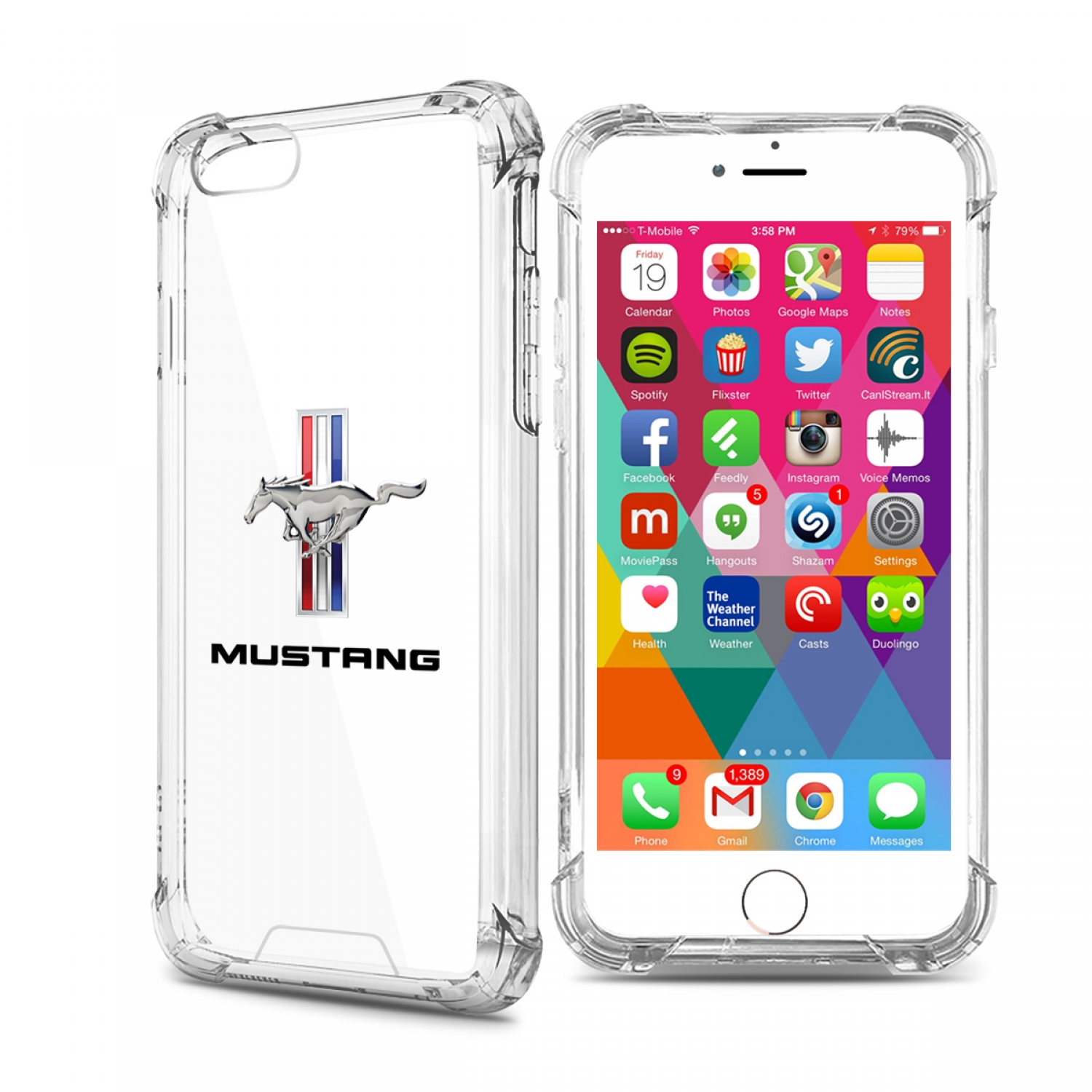 Ford Mustang Tri-Bar iPhone 7 Clear TPU Shockproof Cell Phone Case