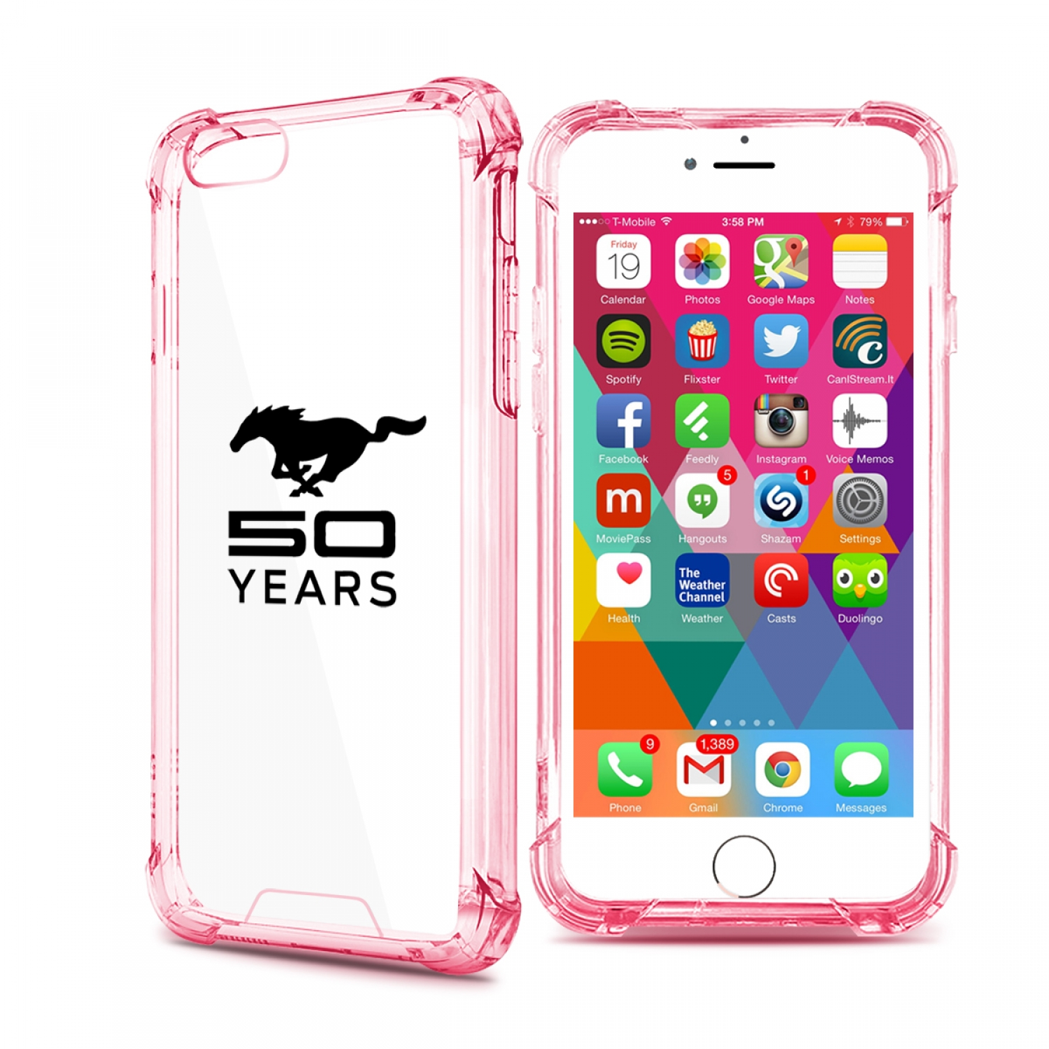 Ford Mustang 50 Years iPhone 7 Rose-Red Clear TPU Shockproof Cell Phone Case