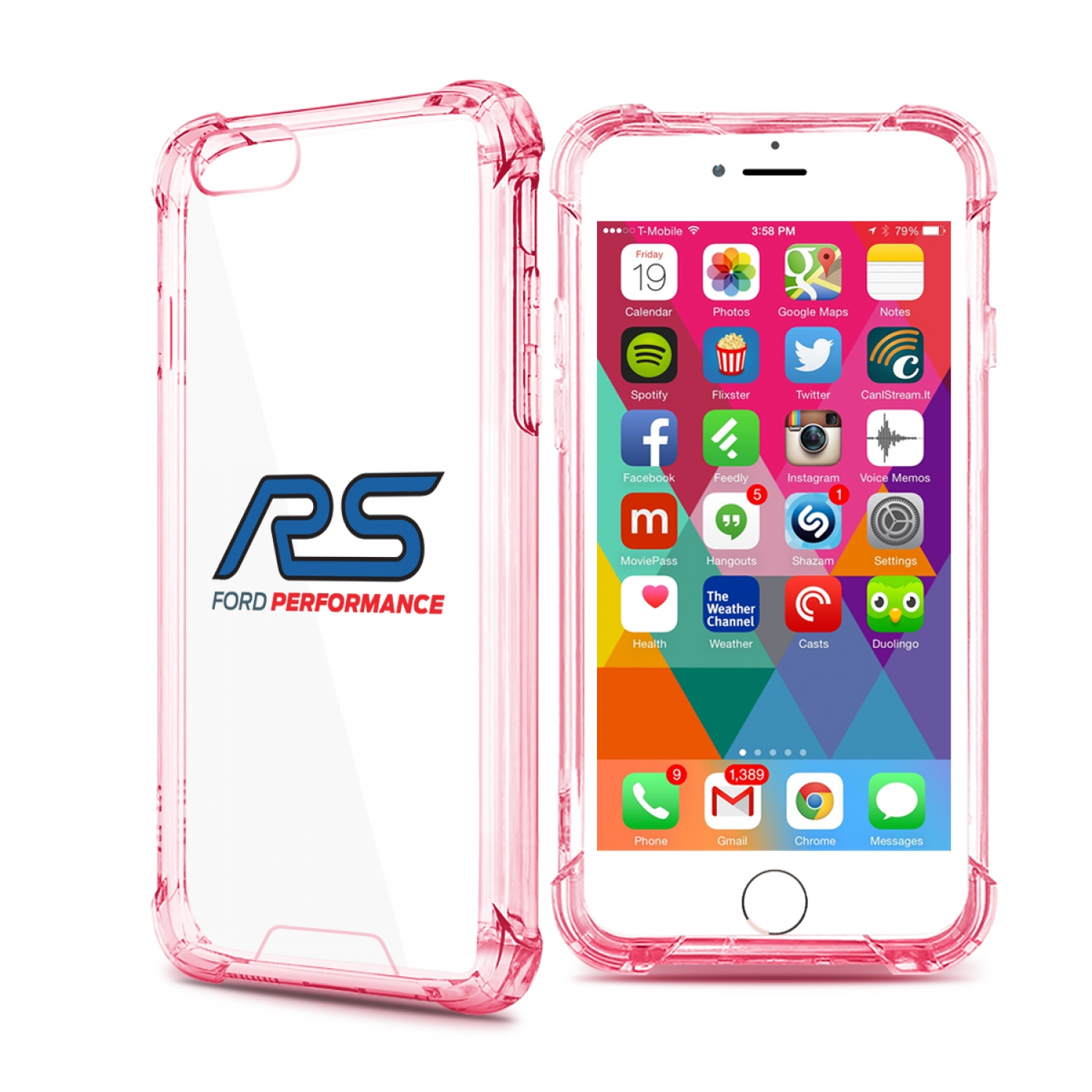 Ford Focus RS iPhone 7 Rose-Red Clear TPU Shockproof Cell Phone Case
