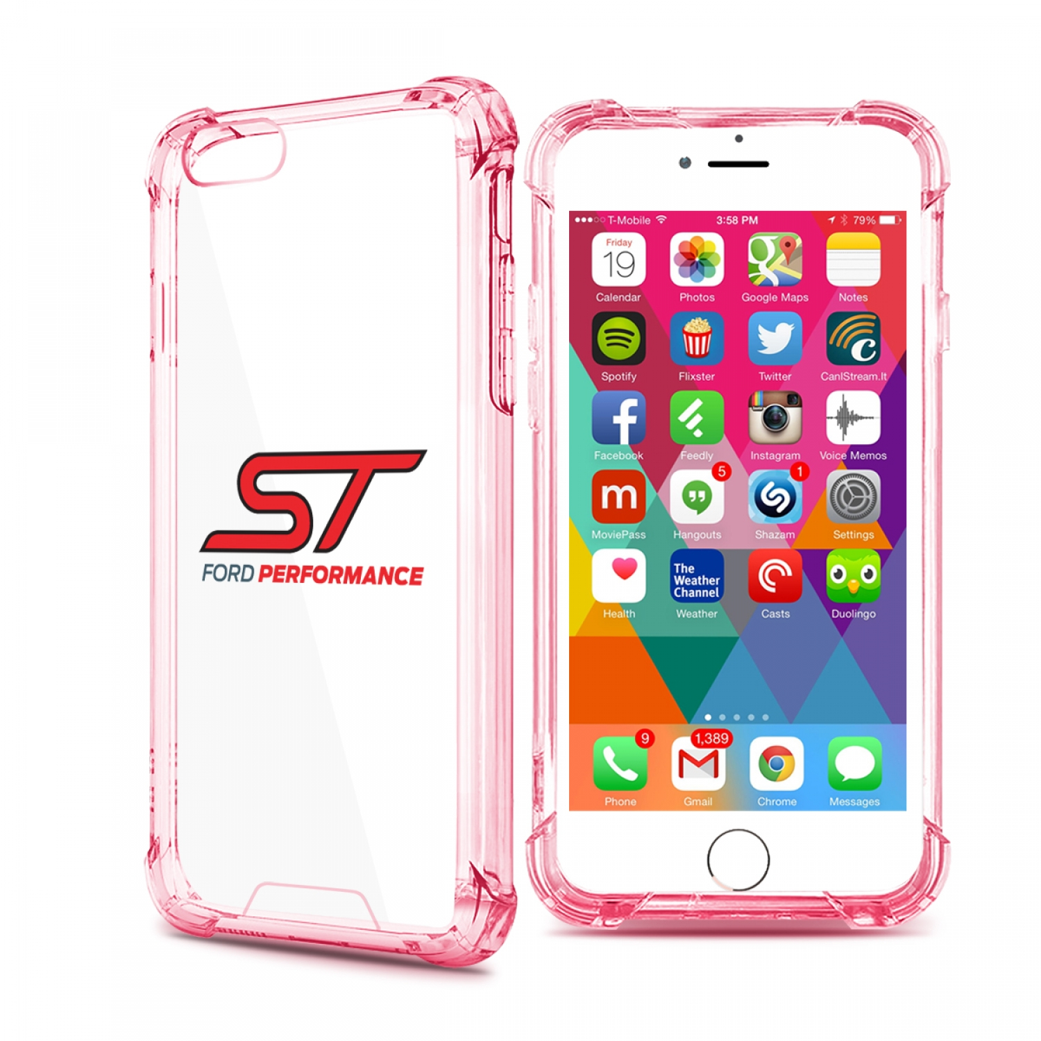 Ford Focus ST iPhone 7 Rose-Red Clear TPU Shockproof Cell Phone Case