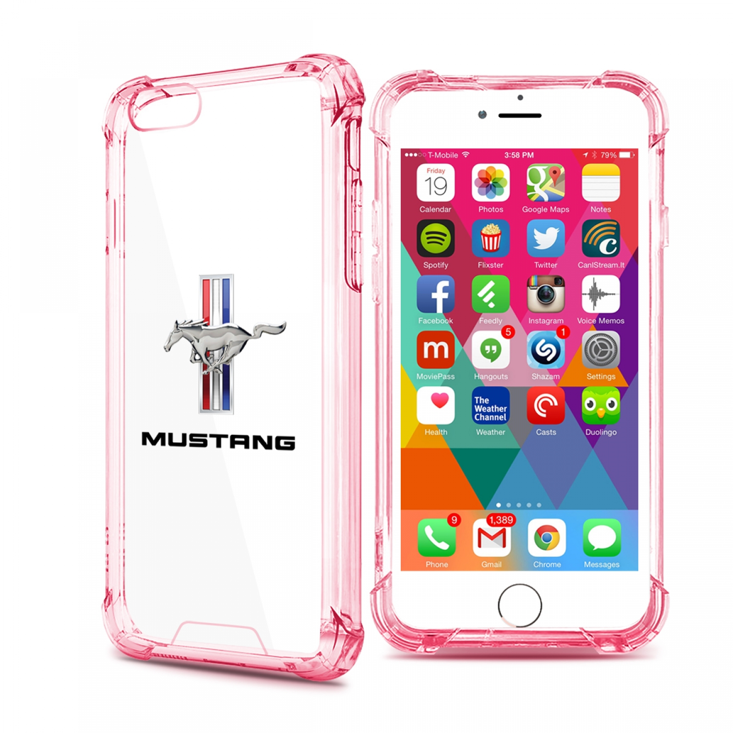 Ford Mustang Tri-Bar iPhone 7 Rose-Red Clear TPU Shockproof Cell Phone Case