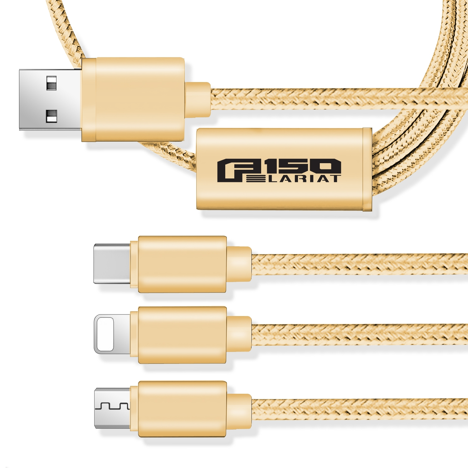 Ford F150 Lariat 3 in 1 Golden 4 Ft Premium Multi Charging Cord USB Cable