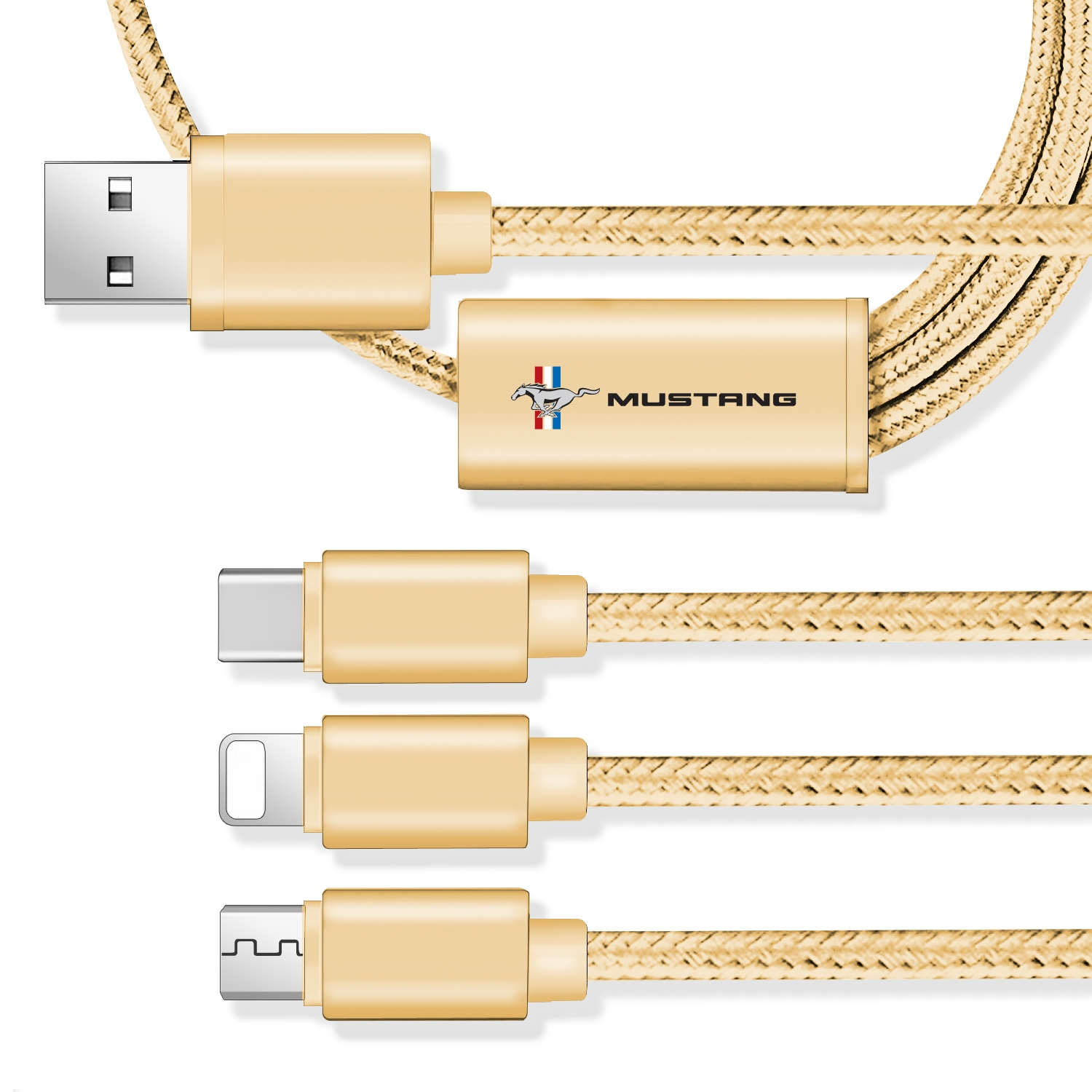 Ford Mustang Tri-Bar 3 in 1 Golden 4 Ft Premium Multi Charging Cord USB Cable