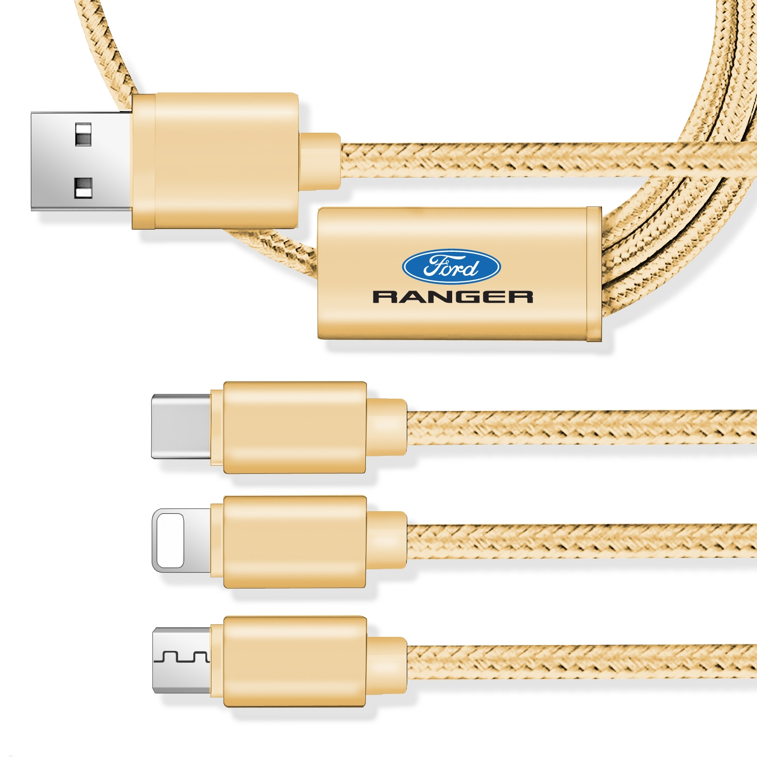 Ford Ranger 3 in 1 Golden 4 Ft Premium Multi Charging Cord USB Cable