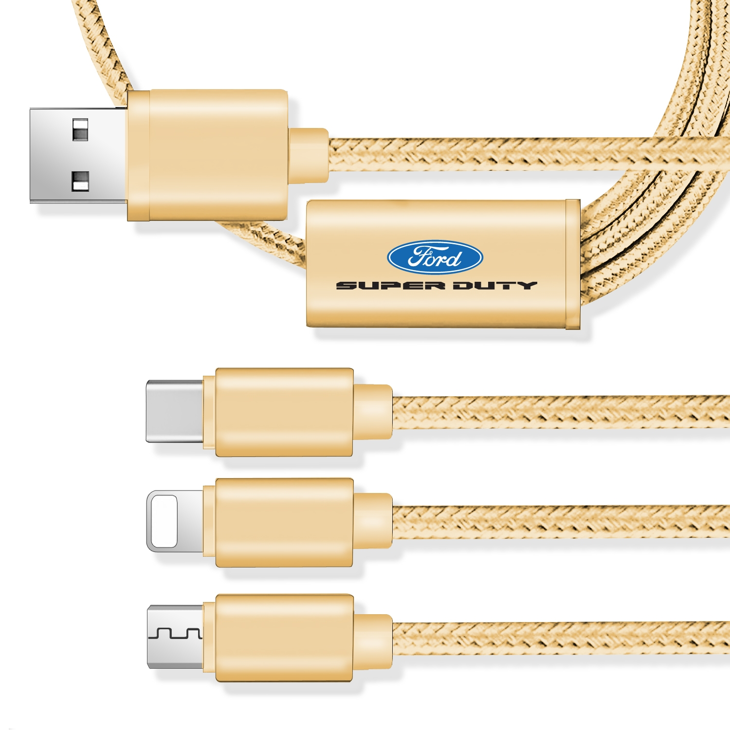 Ford Super-Duty 3 in 1 Golden 4 Ft Premium Multi Charging Cord USB Cable