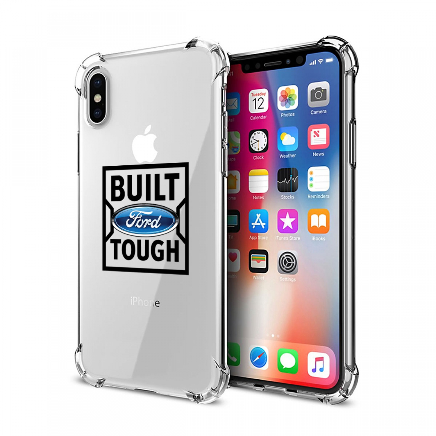 Ford Built Ford Tough iPhone X Clear TPU Shockproof Cell Phone Case
