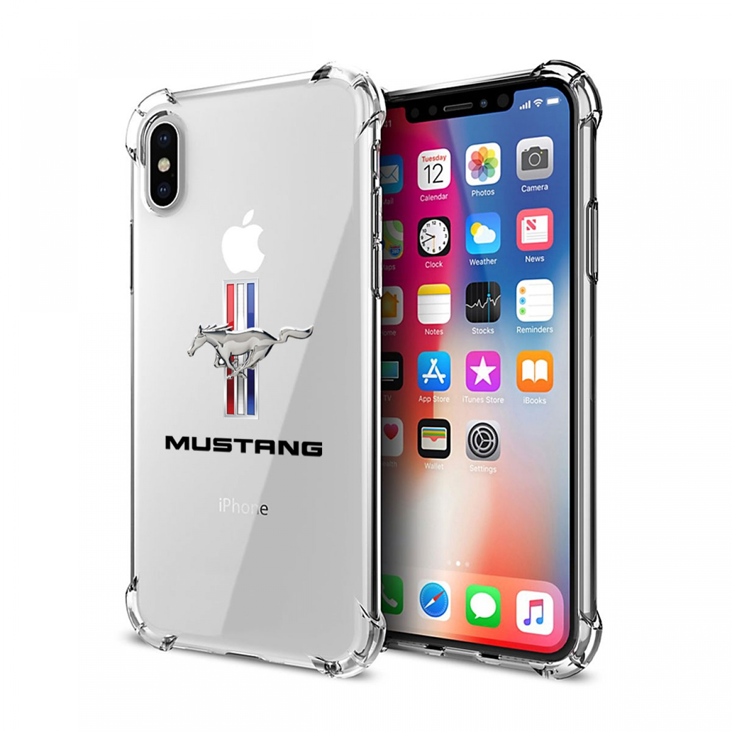 Ford Mustang Tri-Bar iPhone X Clear TPU Shockproof Cell Phone Case