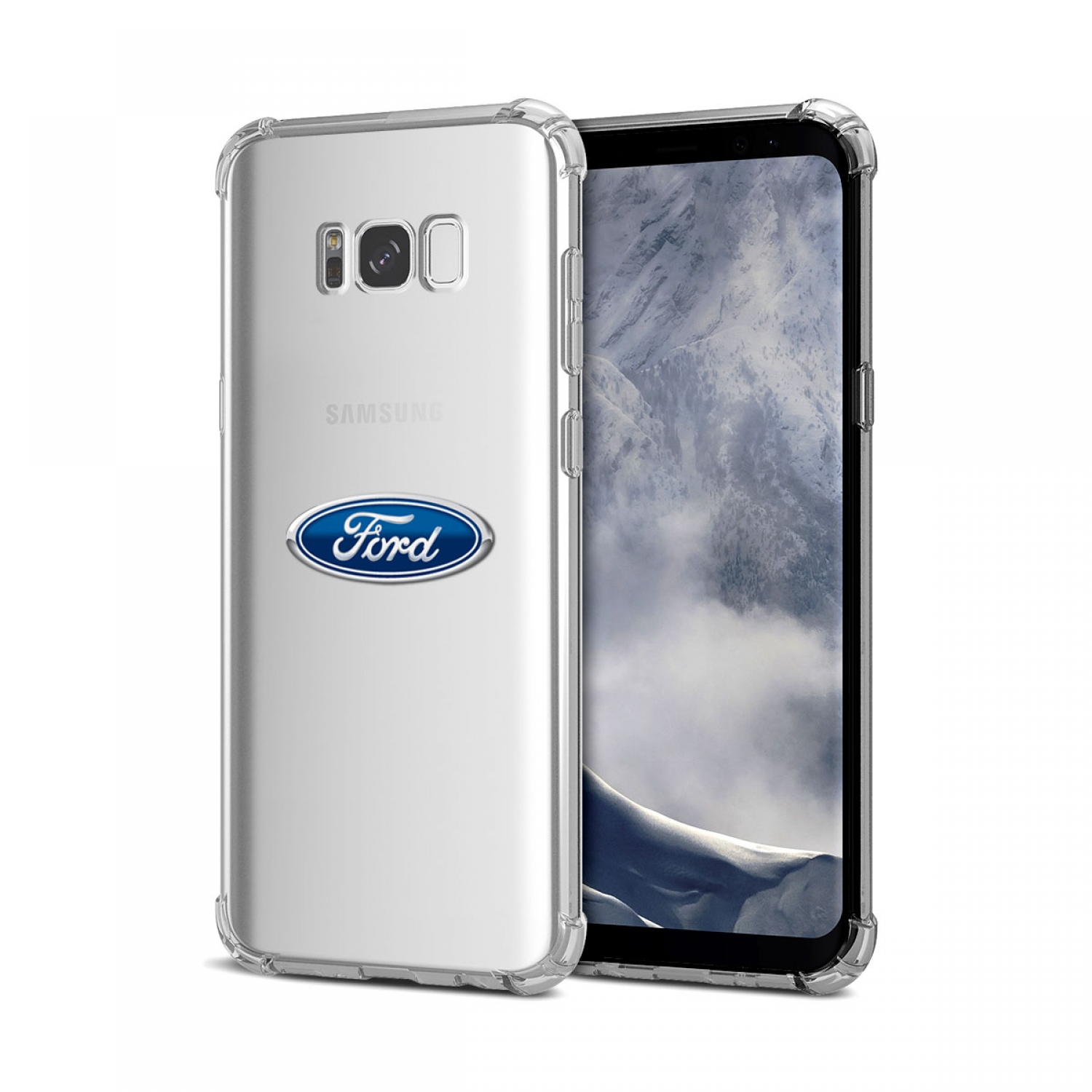 Galaxy S8 Case, Ford Oval Logo Clear TPU Shockproof Cell Phone Case
