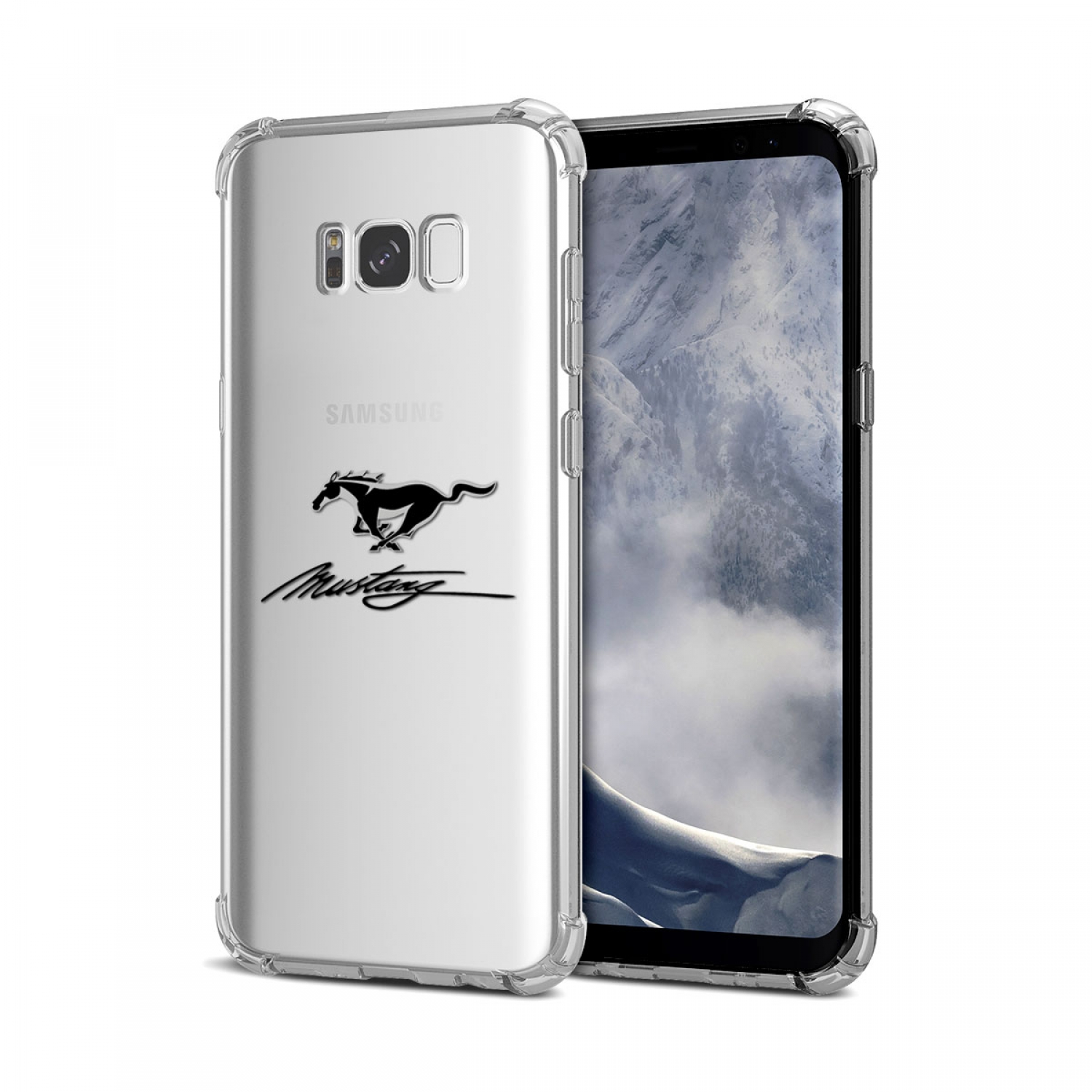 Galaxy S8 Case, Ford Mustang Script Clear TPU Shockproof Cell Phone Case