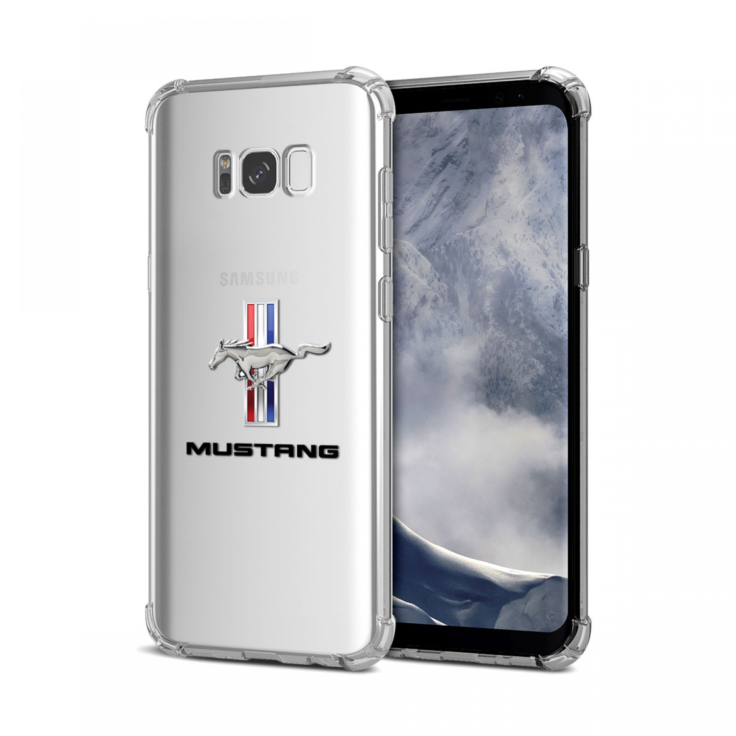 Galaxy S8 Case, Ford Mustang Tri-Bar Clear TPU Shockproof Cell Phone Case