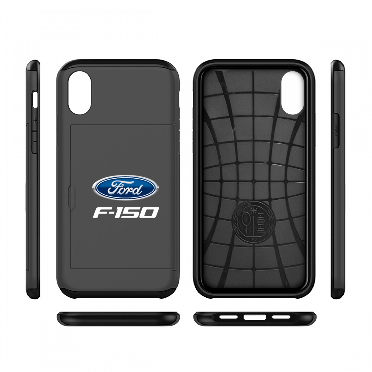 Ford F-150 iPhone X Black Shockproof with Card Holder Cell Phone Case