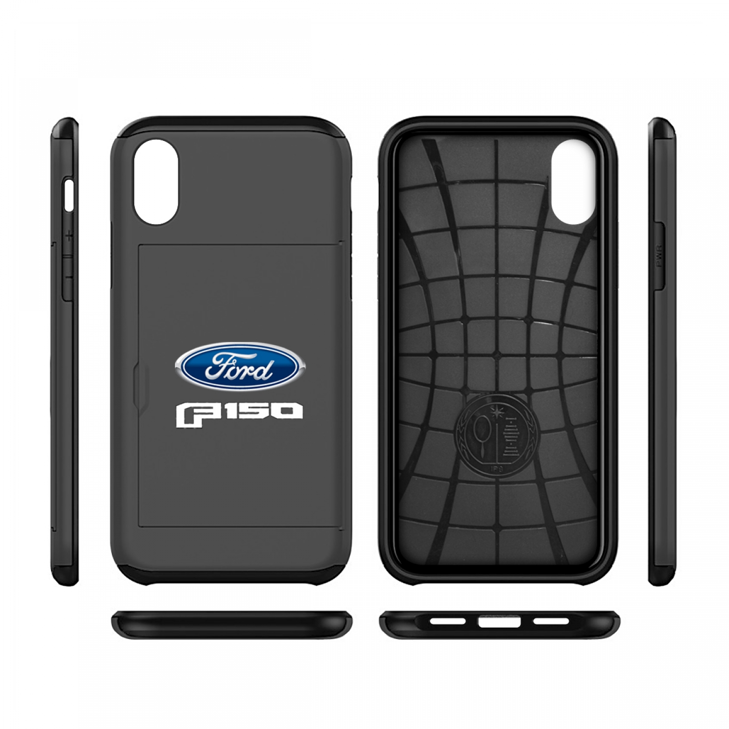 Ford F150 2015 iPhone X Black Shockproof with Card Holder Cell Phone Case