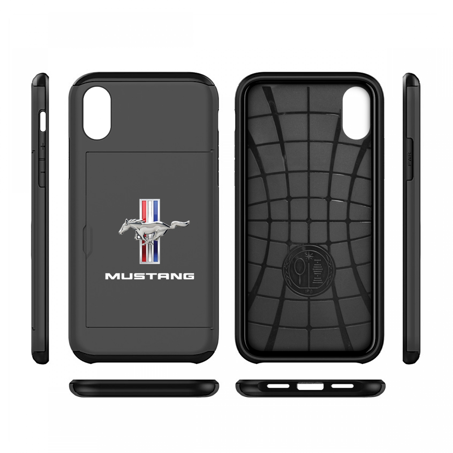 Ford Mustang Tri-Bar iPhone X Black Shockproof with Card Holder Cell Phone Case