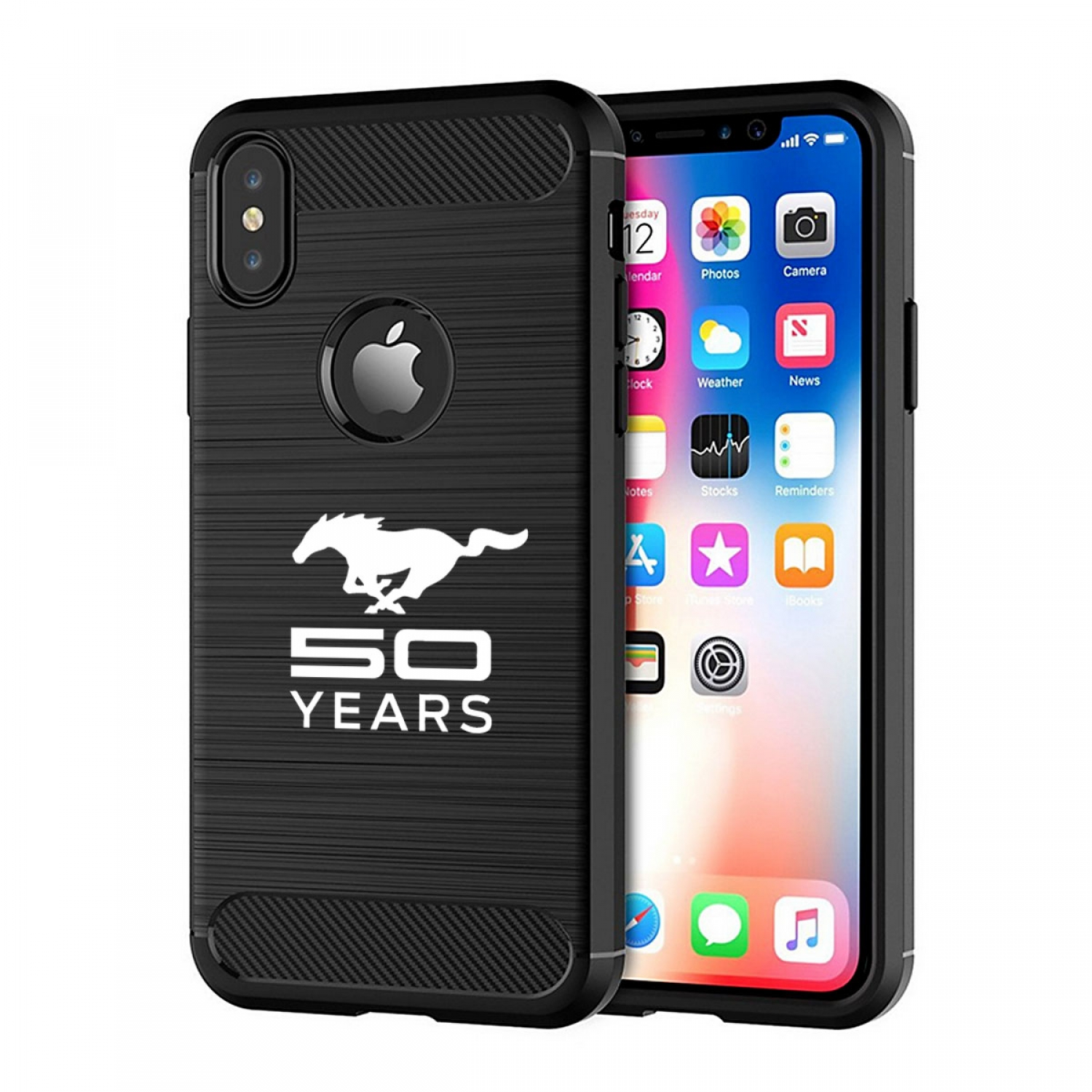 Ford Mustang 50 Years iPhone X TPU Shockproof Black Carbon Fiber Textures Stripes Cell Phone Case