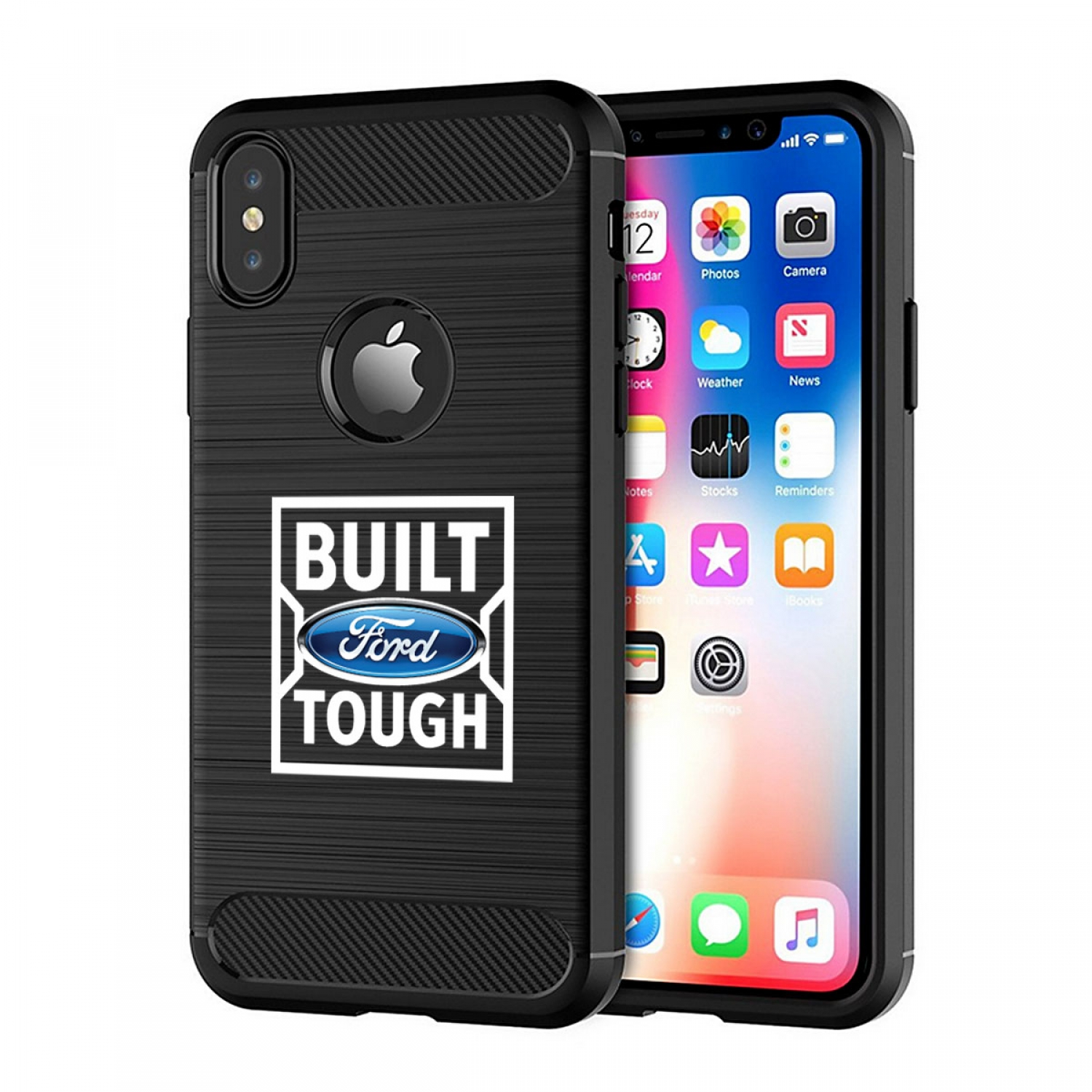 Ford Built Ford Tough iPhone X TPU Shockproof Black Carbon Fiber Textures Stripes Cell Phone Case