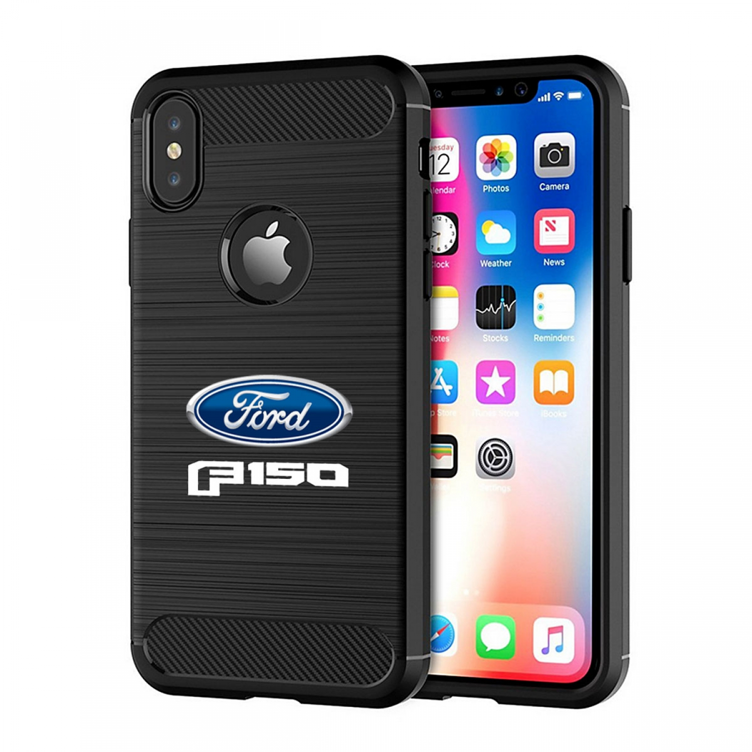Ford F150 2015 iPhone X TPU Shockproof Black Carbon Fiber Textures Stripes Cell Phone Case