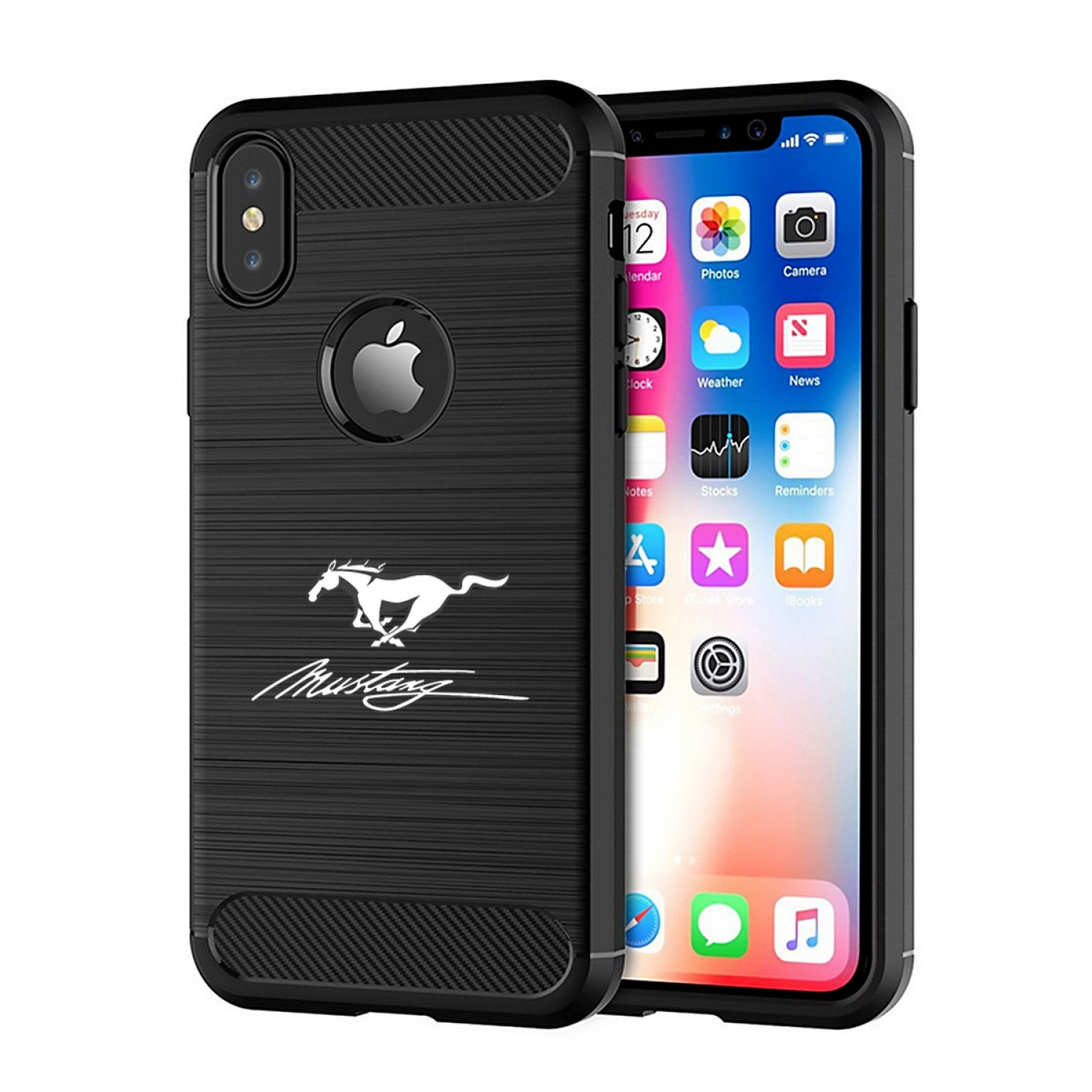 Ford Mustang Script iPhone X TPU Shockproof Black Carbon Fiber Textures Stripes Cell Phone Case