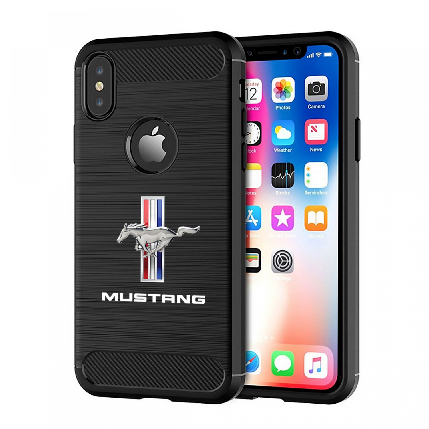 Ford Mustang Tri-Bar iPhone X TPU Shockproof Black Carbon Fiber Textures Stripes Cell Phone Case