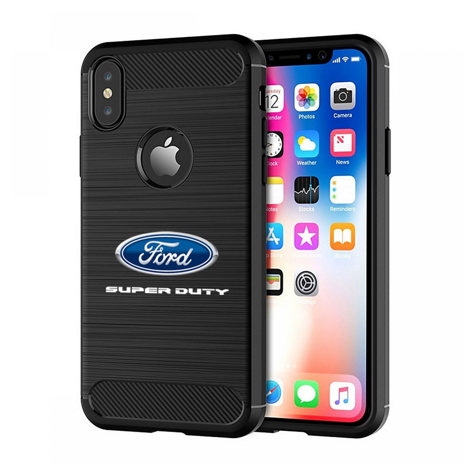 Ford Super Duty iPhone X TPU Shockproof Black Carbon Fiber Textures Stripes Cell Phone Case