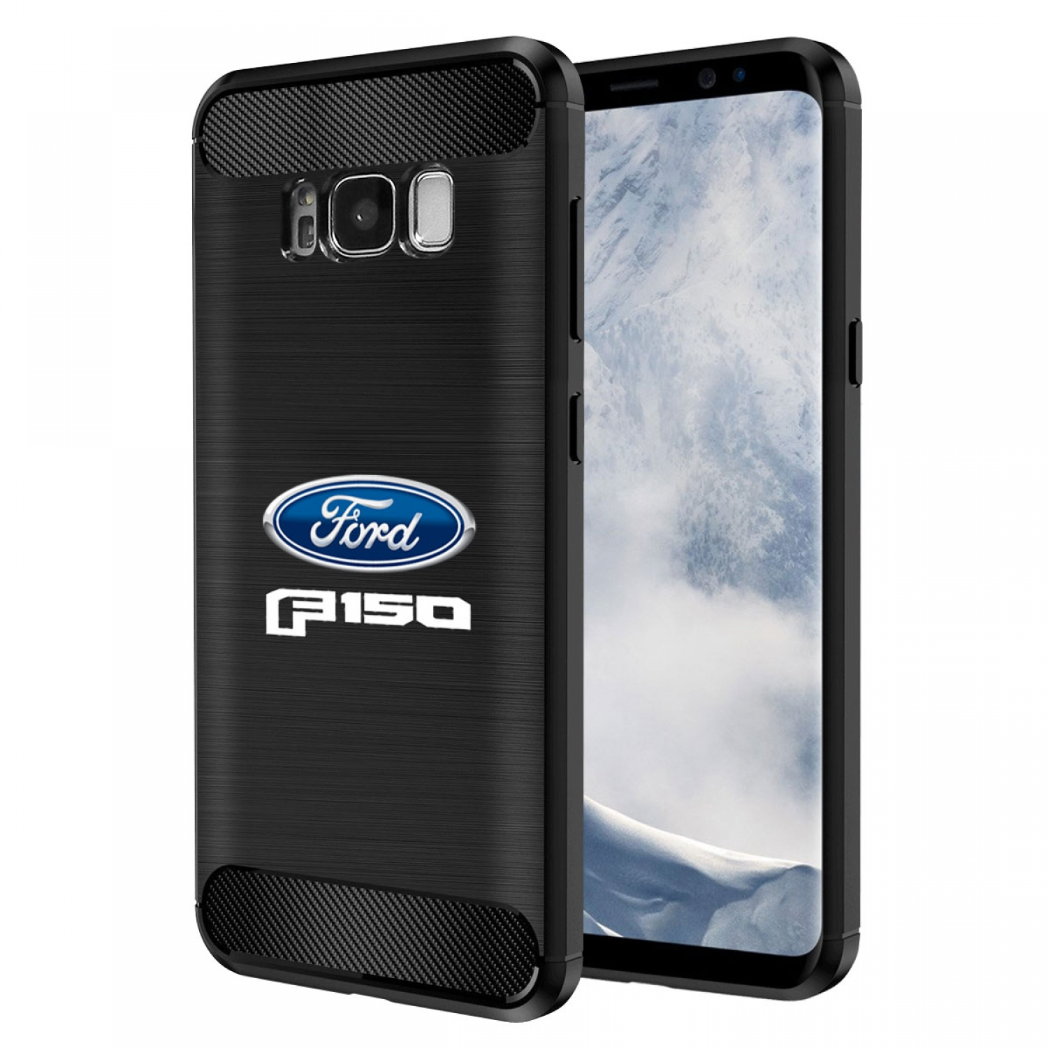 Galaxy S8 Case, Ford F-150 2015 up TPU Shockproof Black Carbon Fiber Textures Stripes Cell Phone Case