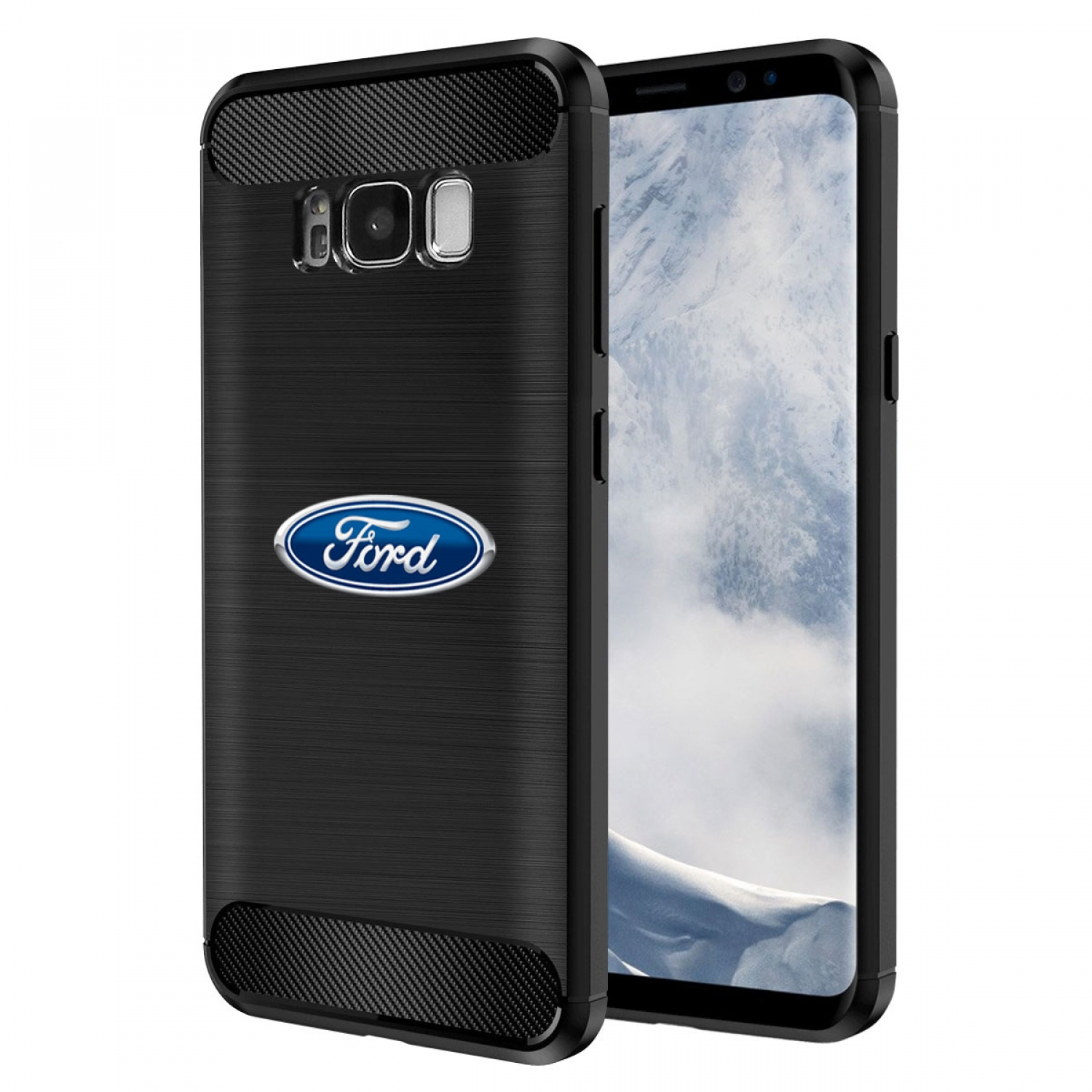 Galaxy S8 Case, Ford Oval Logo TPU Shockproof Black Carbon Fiber Textures Stripes Cell Phone Case