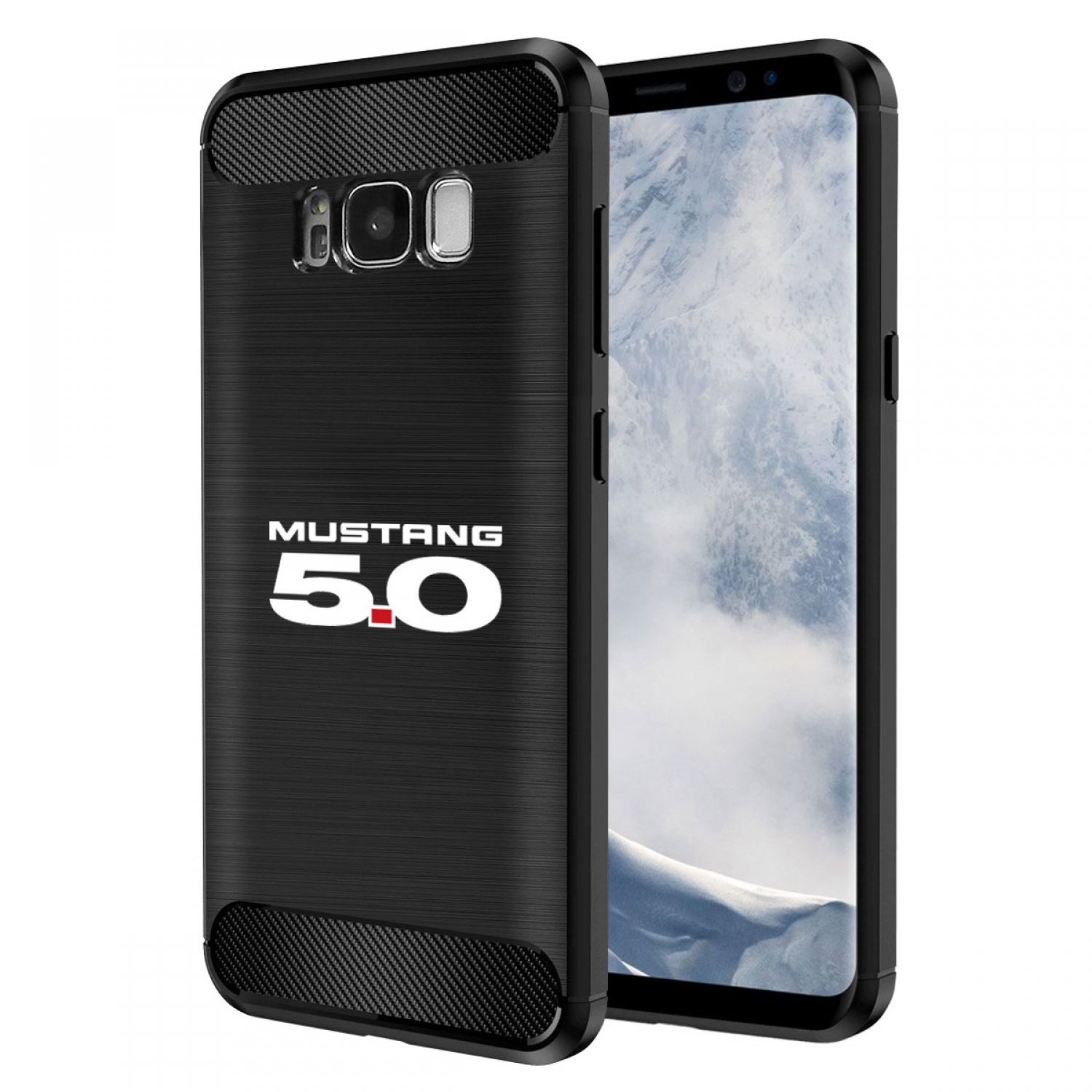 Galaxy S8 Case, Ford Mustang 5.0 TPU Shockproof Black Carbon Fiber Textures Stripes Cell Phone Case